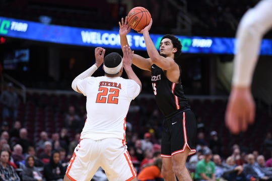 Ball State's Zach Gunn shoots against Bowling Green on Thursday in the Mid-American Conference Tournament quarterfinals in Cleveland, Ohio.
