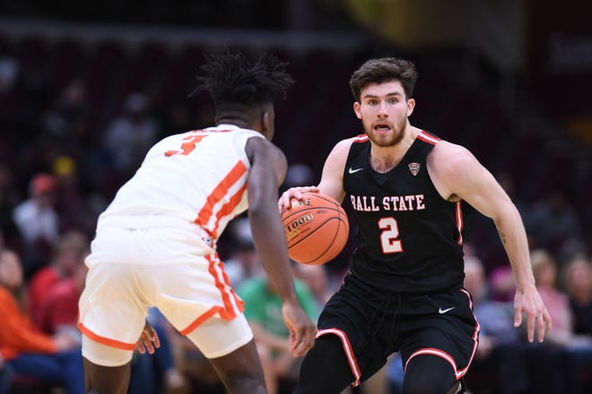Ball State's Tayler Persons looks for a driving lane against Bowling Green on Thursday in the Mid-American Conference Tournament quarterfinals in Cleveland, Ohio.