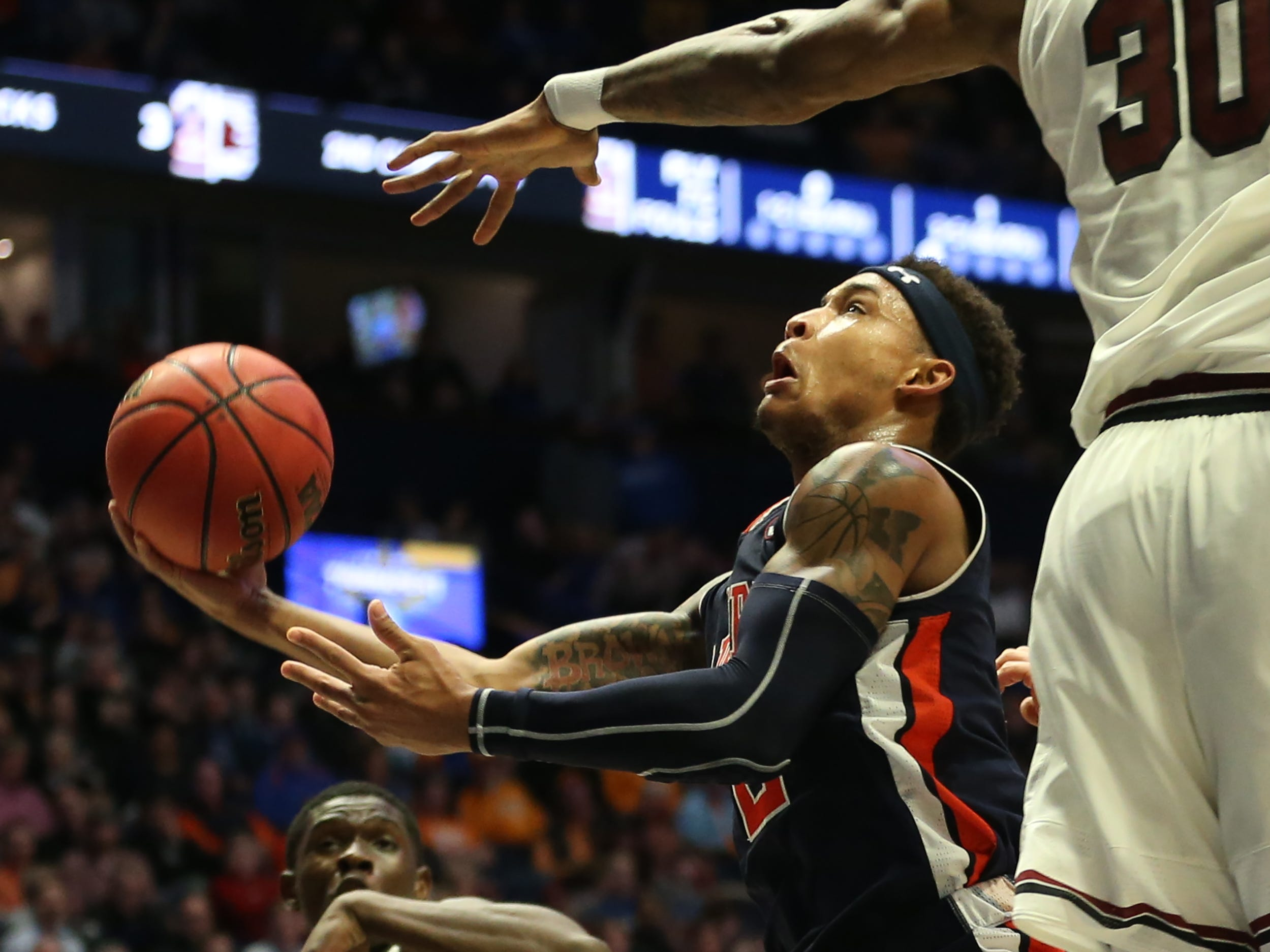 Auburn guard Bryce Brown (2) goes up for a shot during the first half of the SEC Men's Basketball Tournament game against South Carolina at Bridgestone Arena in Nashville, Tenn., Friday, March 15, 2019.