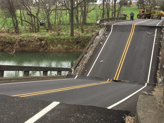 The Highland Road bridge near Portland in Robertson County collapsed, Friday, March 15, 2019