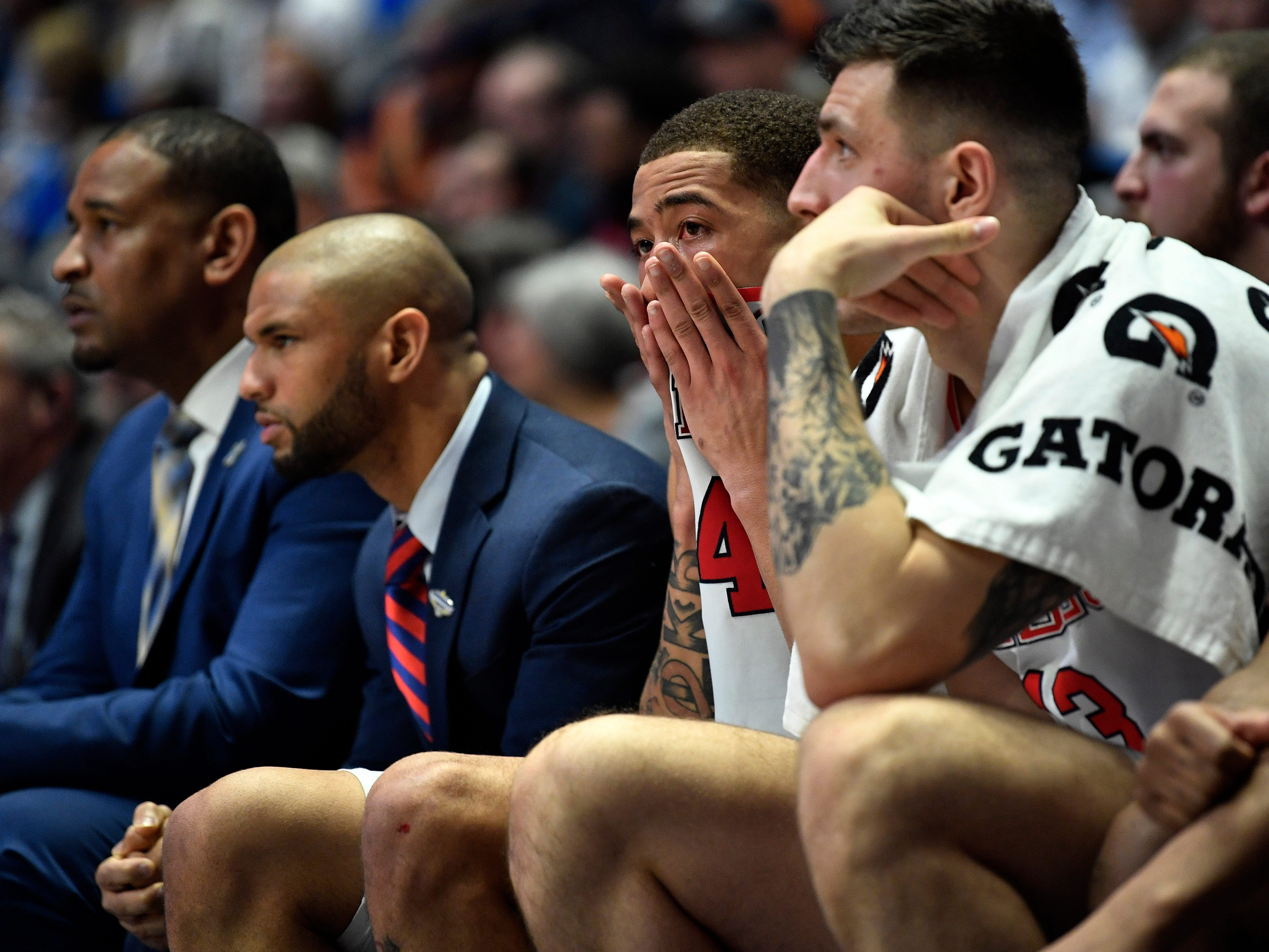 Ole Miss reacts on the bench during the closing minutes of the SEC Men's Basketball Tournament loss to Alabama at Bridgestone Arena in Nashville, Tenn., Thursday, March 14, 2019.