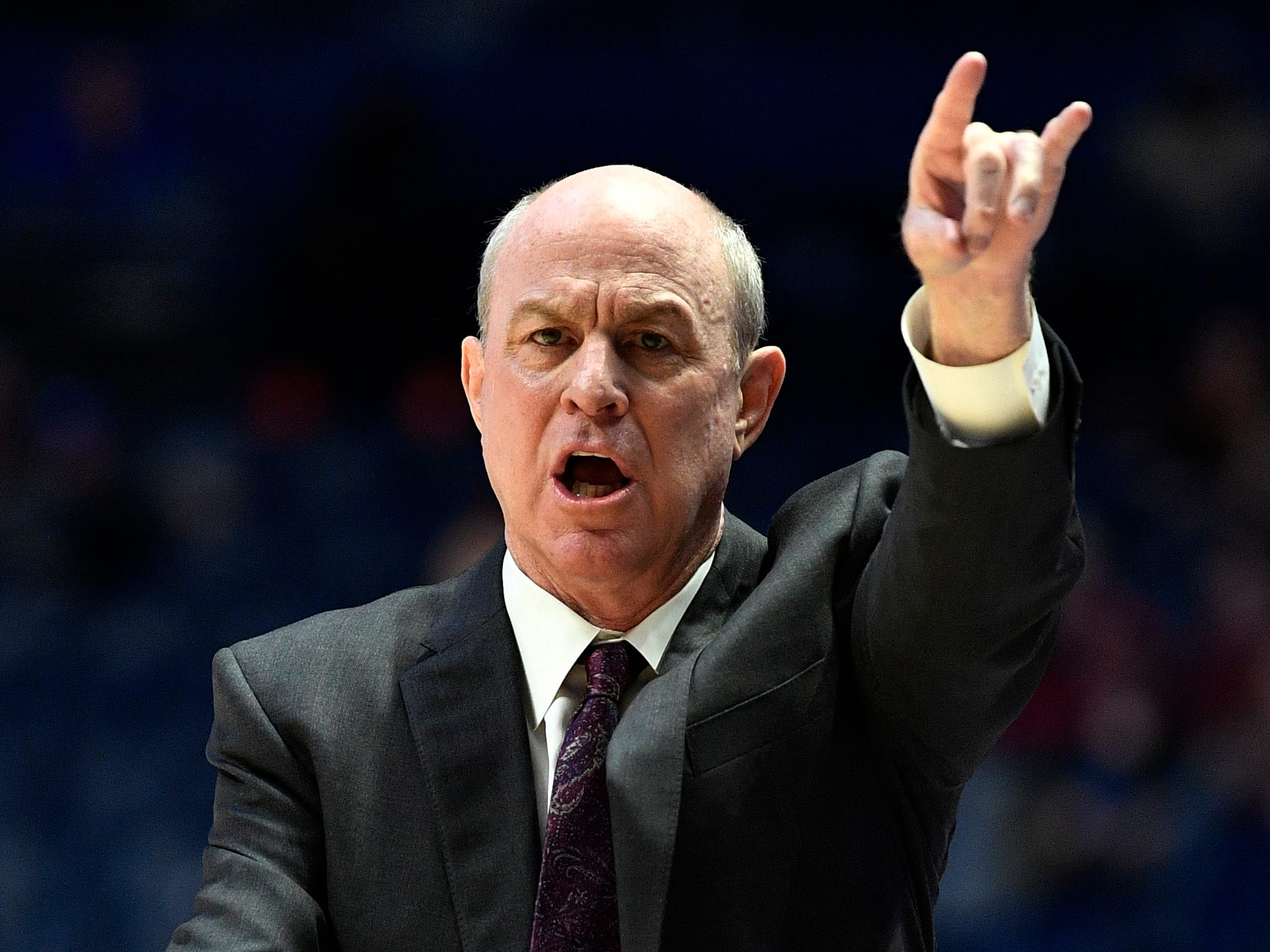 Mississippi State head coach Ben Howland instructs his team during the second half of the SEC Men's Basketball Tournament game against Texas A&M at Bridgestone Arena in Nashville, Tenn., Thursday, March 14, 2019.