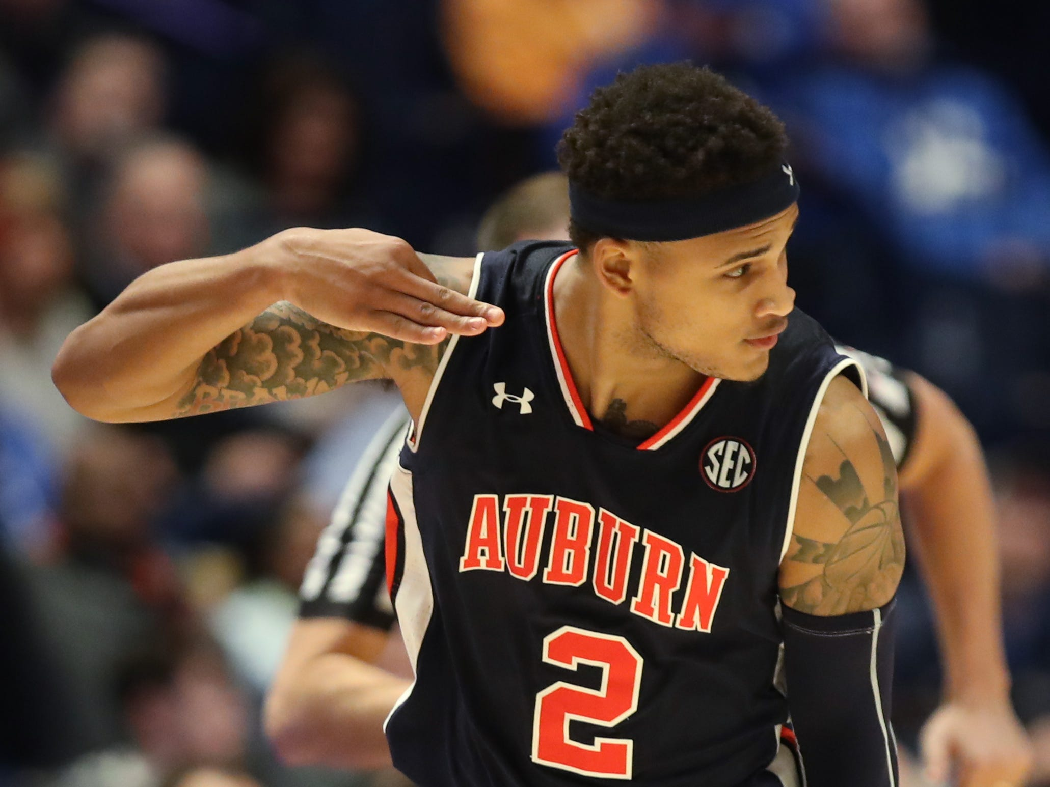 Auburn guard Bryce Brown (2) celebrates his three-pointer during the second half of the SEC Men's Basketball Tournament game at Bridgestone Arena in Nashville, Tenn., Friday, March 15, 2019.
