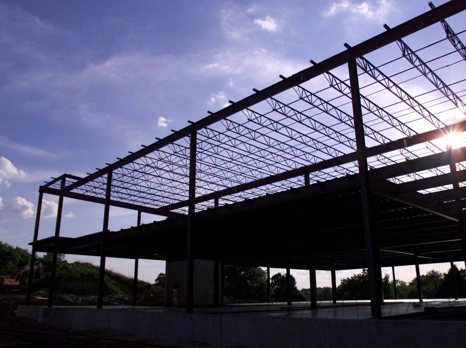 Steel framing has started for Cool Springs Medical Center Phase II in 1996 on Mallory Lane.