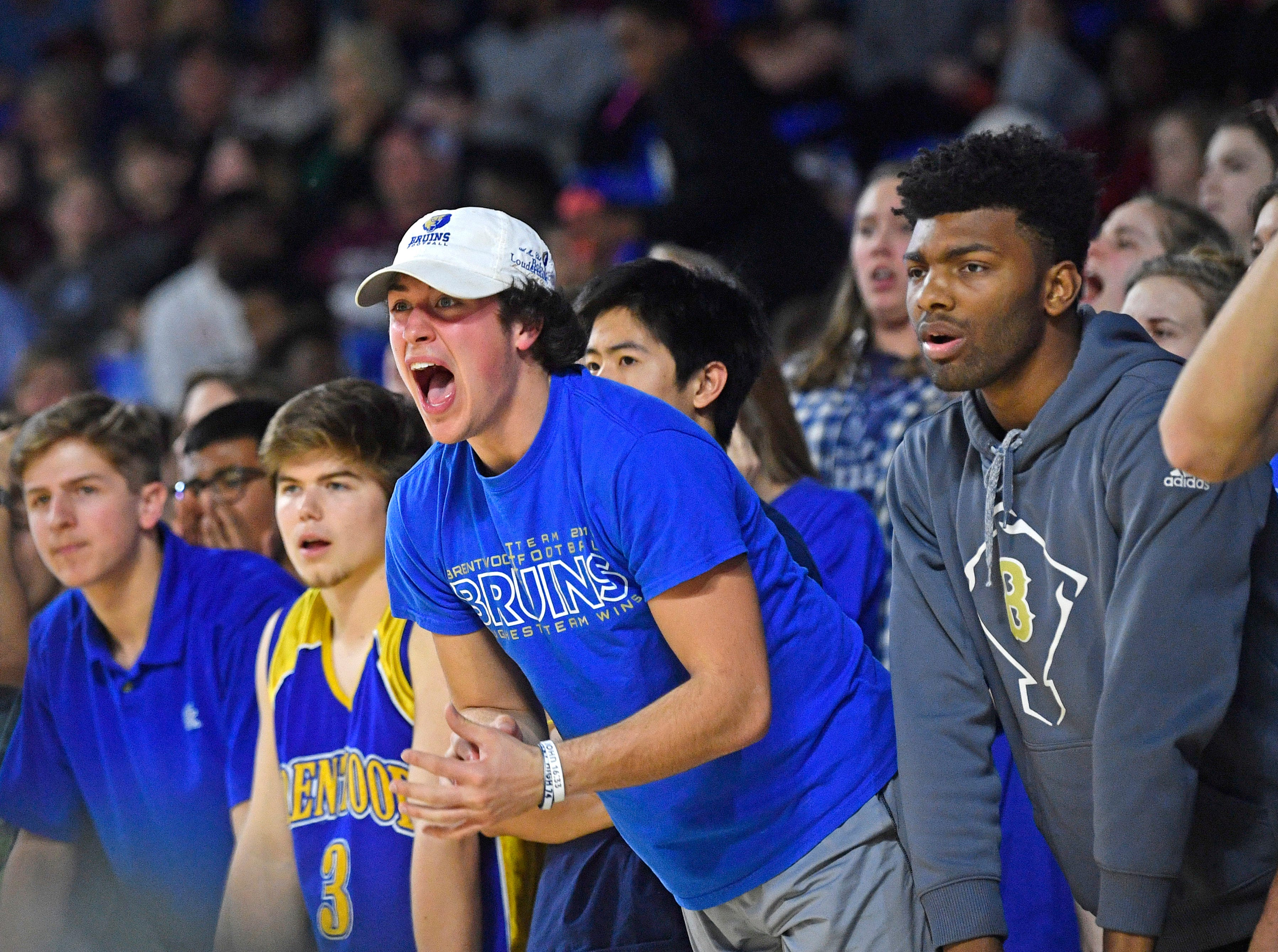 Fans didn't like a lot of the official's calls as Brentwood plays Memphis East in the TSSAA Class AAA semifinal  Friday, March 15, 2019, in Murfreesboro, Tenn.