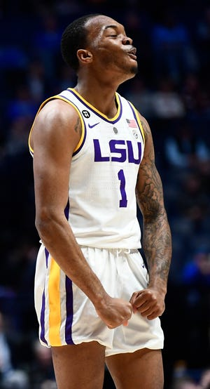 LSU guard Javonte Smart (1) celebrates a basket during the first half of the SEC Men's Basketball Tournament game at Bridgestone Arena in Nashville, Tenn., Friday, March 15, 2019.