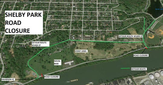 Metro Nashville Parks have closed a stretch of roadway inside Shelby Park due to high-water damage after the recent heavy rains.