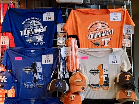 Bridgestone Arena vendors are selling a wide variety of SEC Tournament T-shirts, each donning the logo the 14 member schools. The Kentucky and Tennessee shirts are hot sellers.