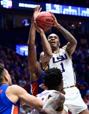 LSU guard Javonte Smart (1) shoots during the second half of the SEC Men's Basketball Tournament game at Bridgestone Arena in Nashville, Tenn., Friday, March 15, 2019.