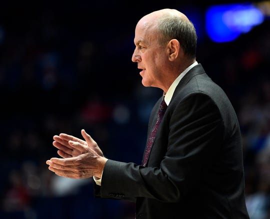 Mississippi State head coach Ben Howland directs his team during the second half of the SEC Men's Basketball Tournament game at Bridgestone Arena in Nashville, Tenn., Thursday, March 14, 2019.