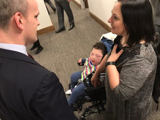 TennCare Director Gabe Roberts speaks with Rosalie Howes about her 7-year-old son, Hyrum, who suffered a stroke when he was born and now has severe physical and intellectual disabilities. Hyrum can't qualify for TennCare because his dad's income is too high, but his medical expenses have devastated the family.