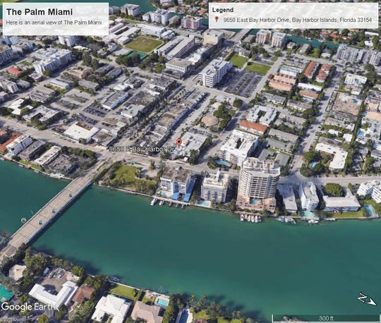 Here's an aerial view of The Palm Miami at Bay Harbor Island, Florida.