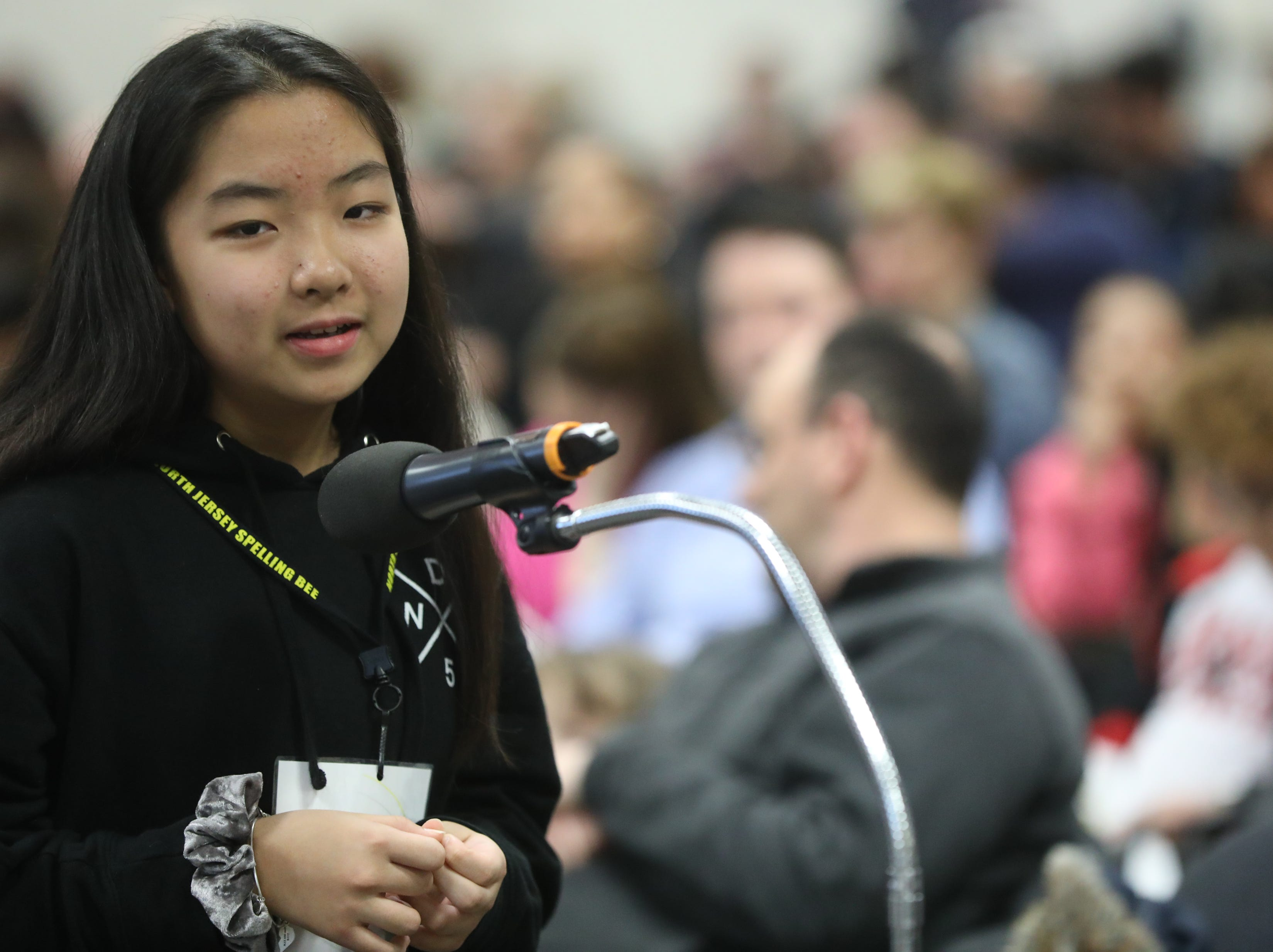 Emma Iwabuchi, of Emerson, competes in the first round of the 2019 North Jersey Spelling Bee, in Paramus. Thursday, March 14, 2019