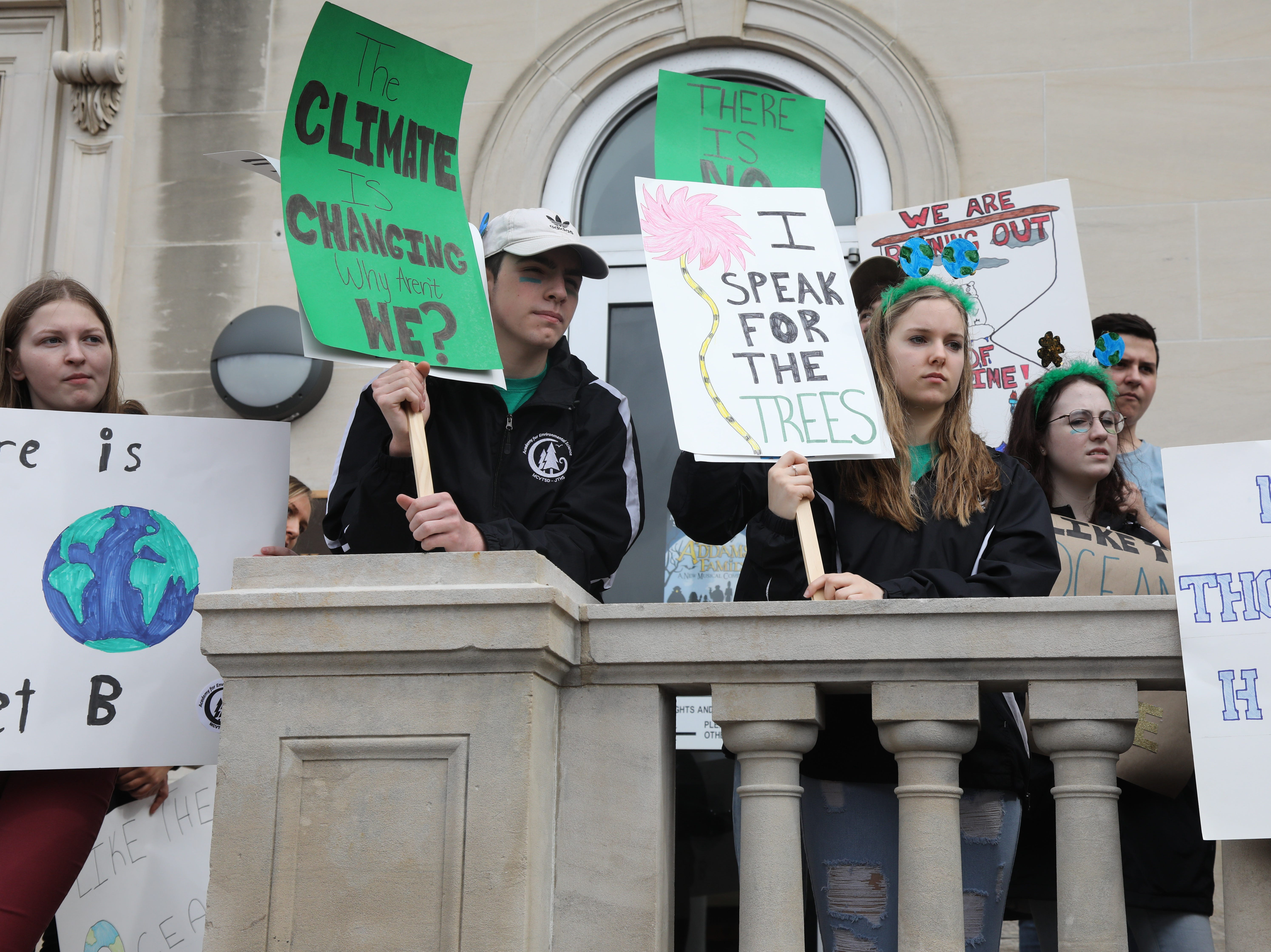 Groups of students on the steps of the Morristown Municipal Building on March 15, 2019 to express their demands to address climate change.