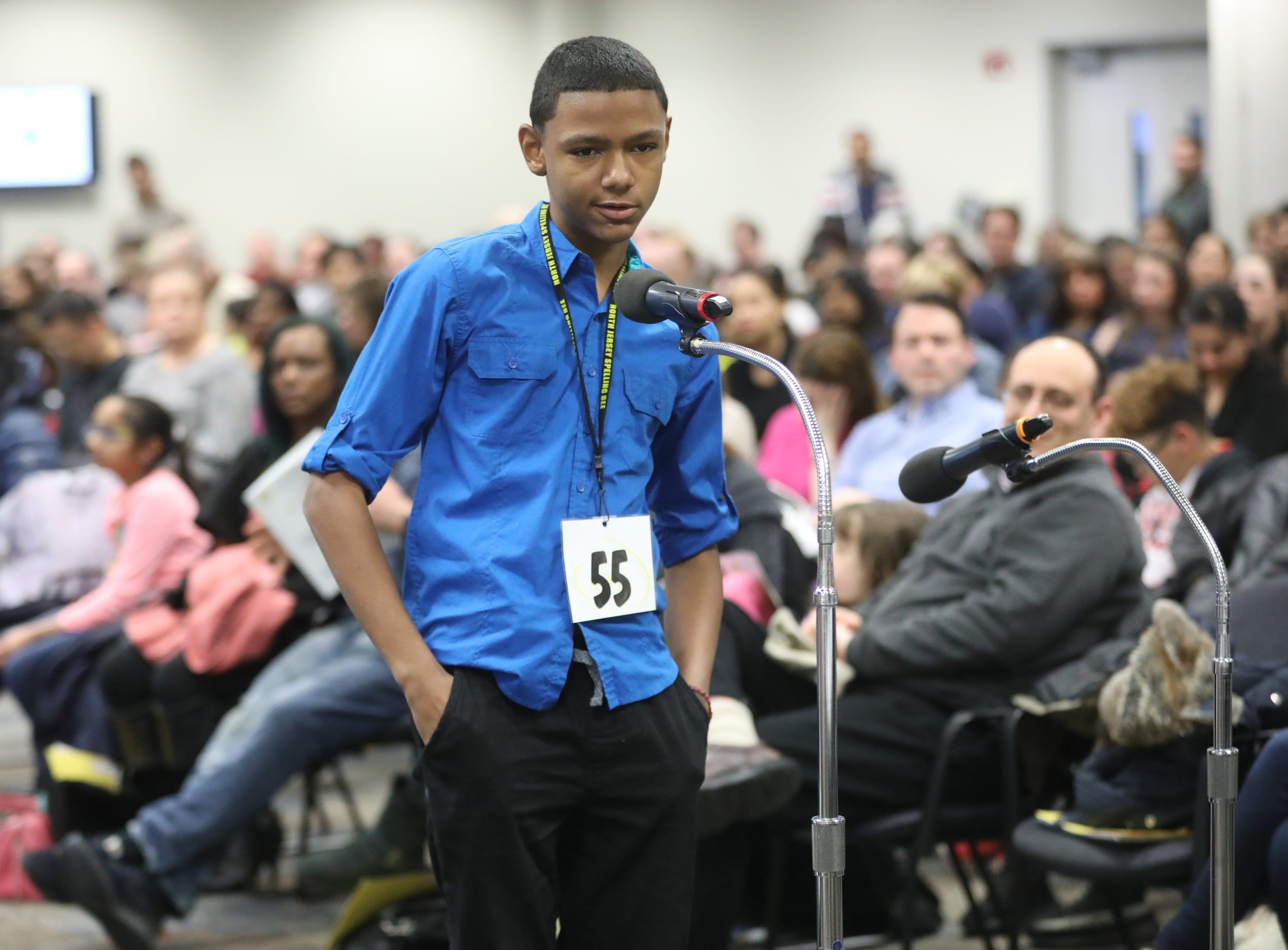 Saul Salazar, of Passaic, competes in the first round of the 2019 North Jersey Spelling Bee, in Paramus. Thursday, March 14, 2019