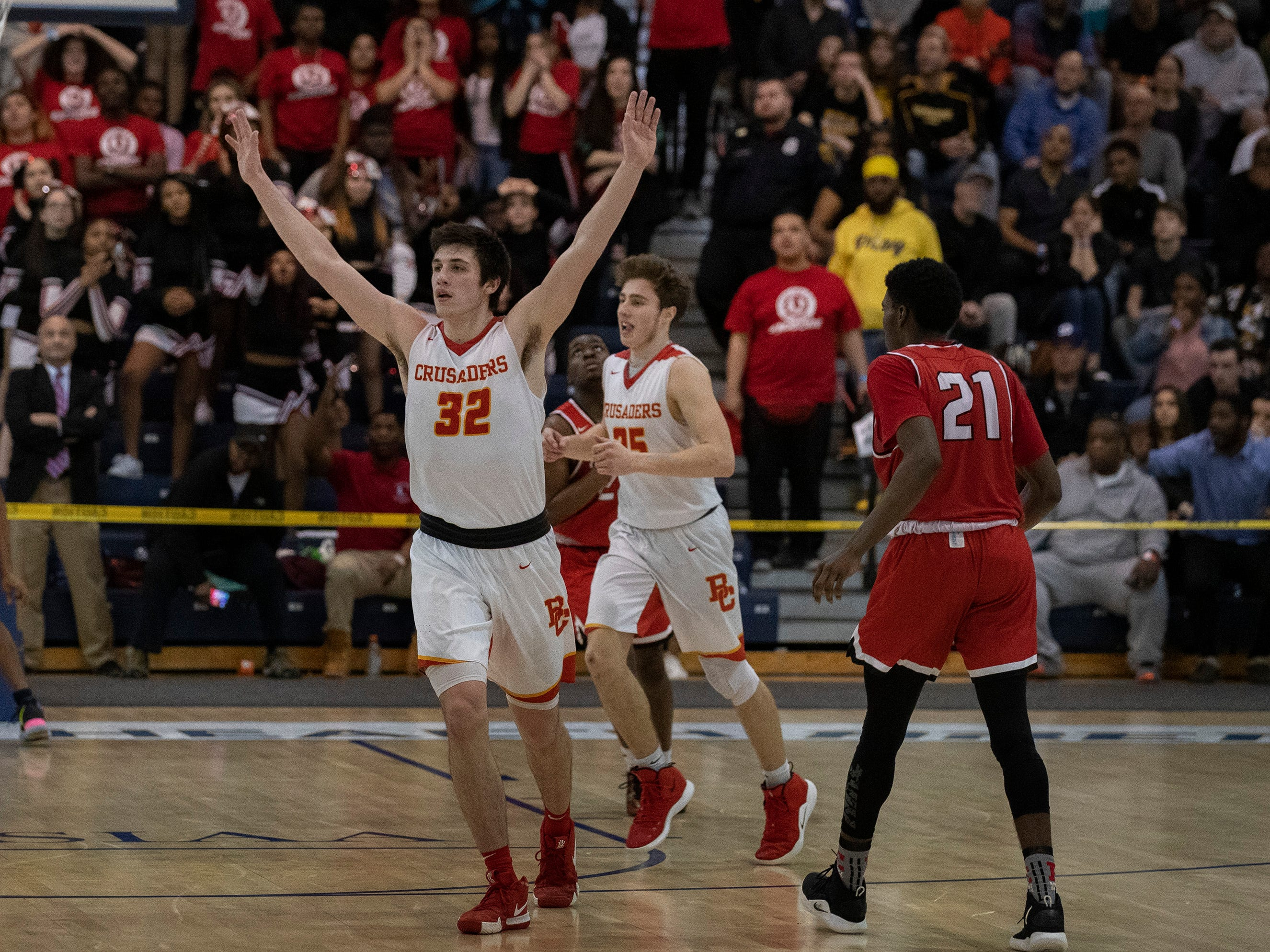 Bergen Catholic's Zachary Freemantle celebrates as the time runs out and they win their semifinal. Bergen Catholic vs. Newark East Side in the 5:30 p.m. semifinals of the 2019 NJSIAA Tournament of Champions in Toms River on March 15, 2019.