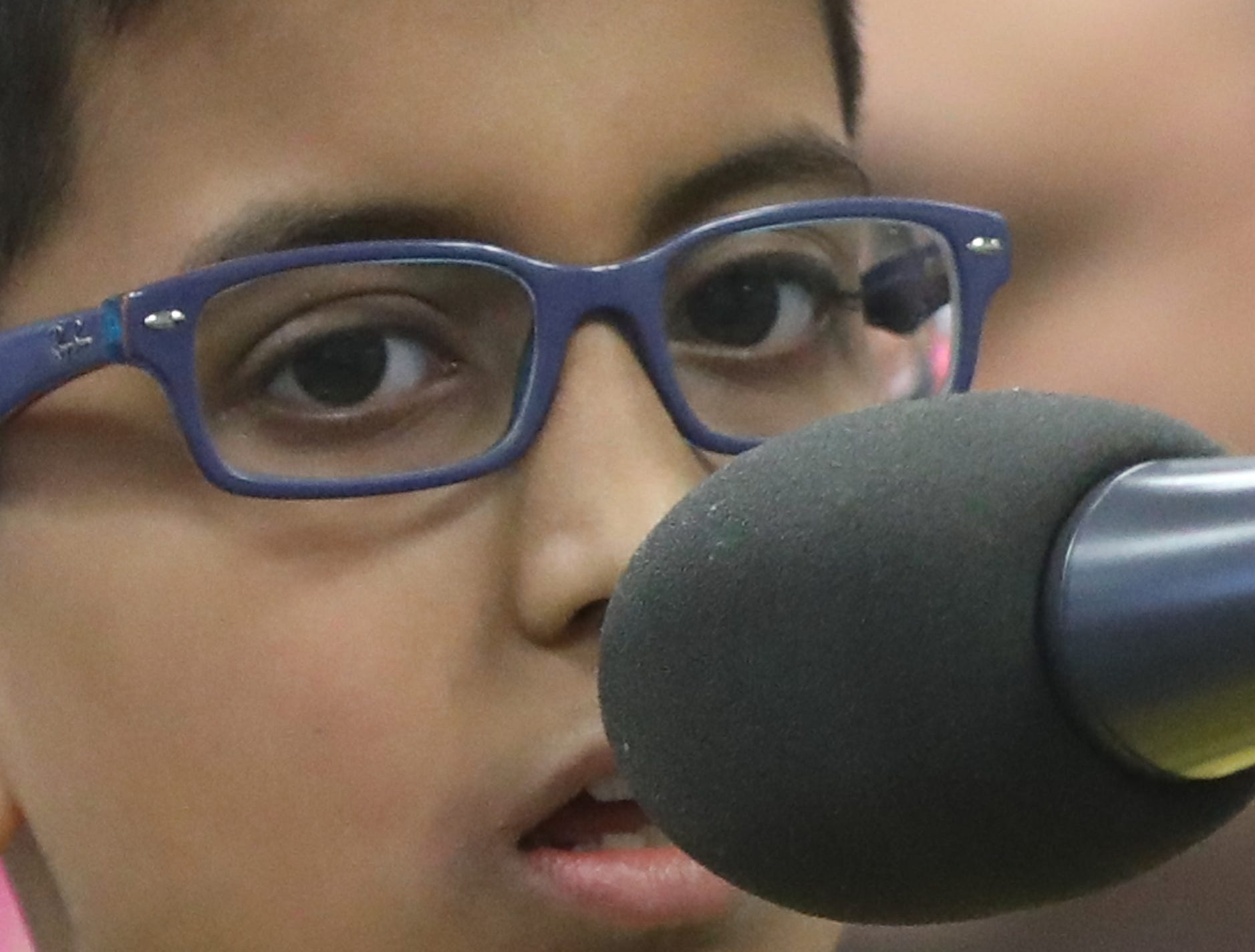 Neel Gudapati, Paramus, competes in the first round of the 2019 North Jersey Spelling Bee, in Paramus. Thursday, March 14, 2019