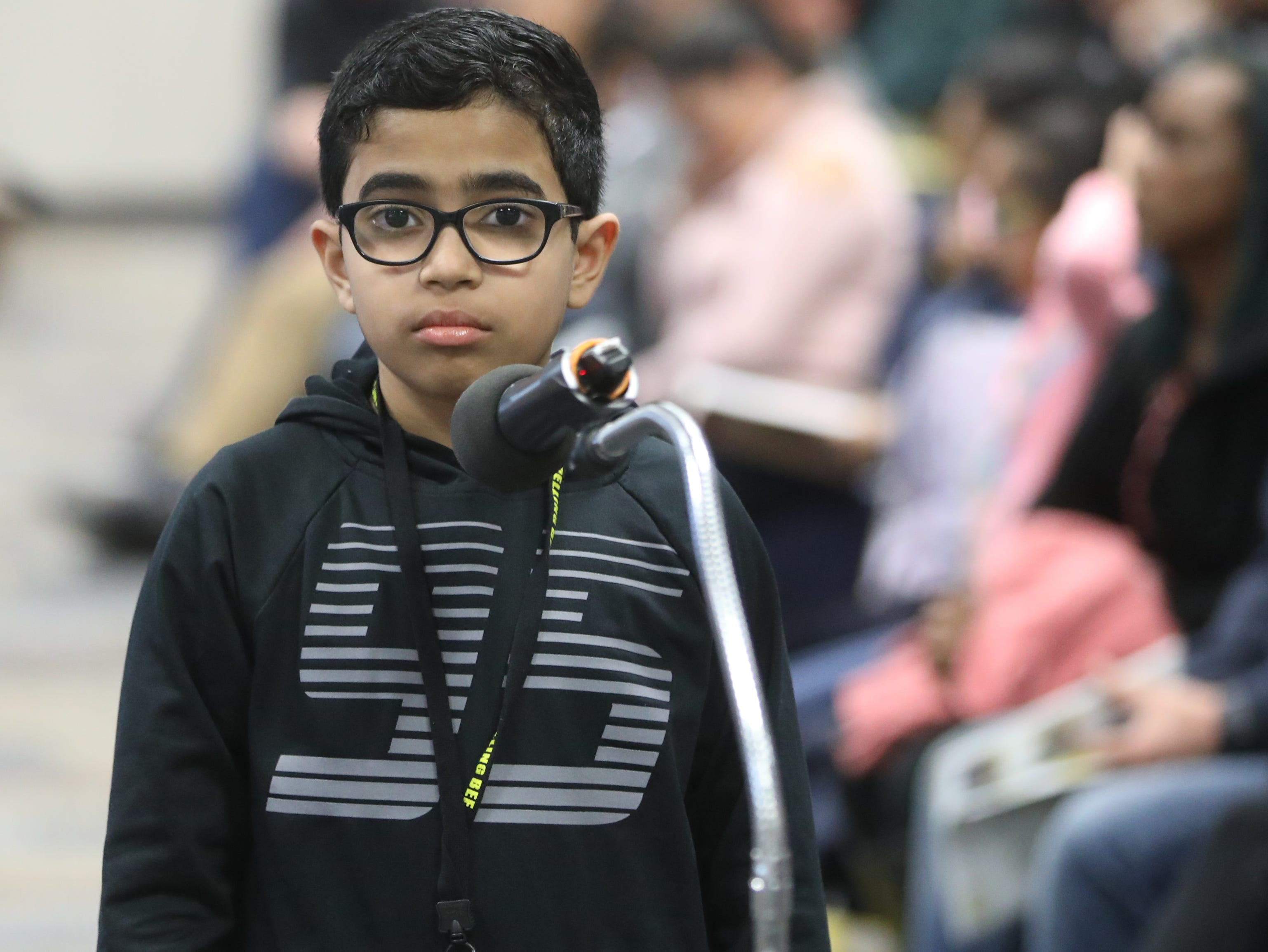 Sarvesvaran Vivekanandan, of River Edge, competes in the first round of the 2019 North Jersey Spelling Bee, in Paramus. Thursday, March 14, 2019