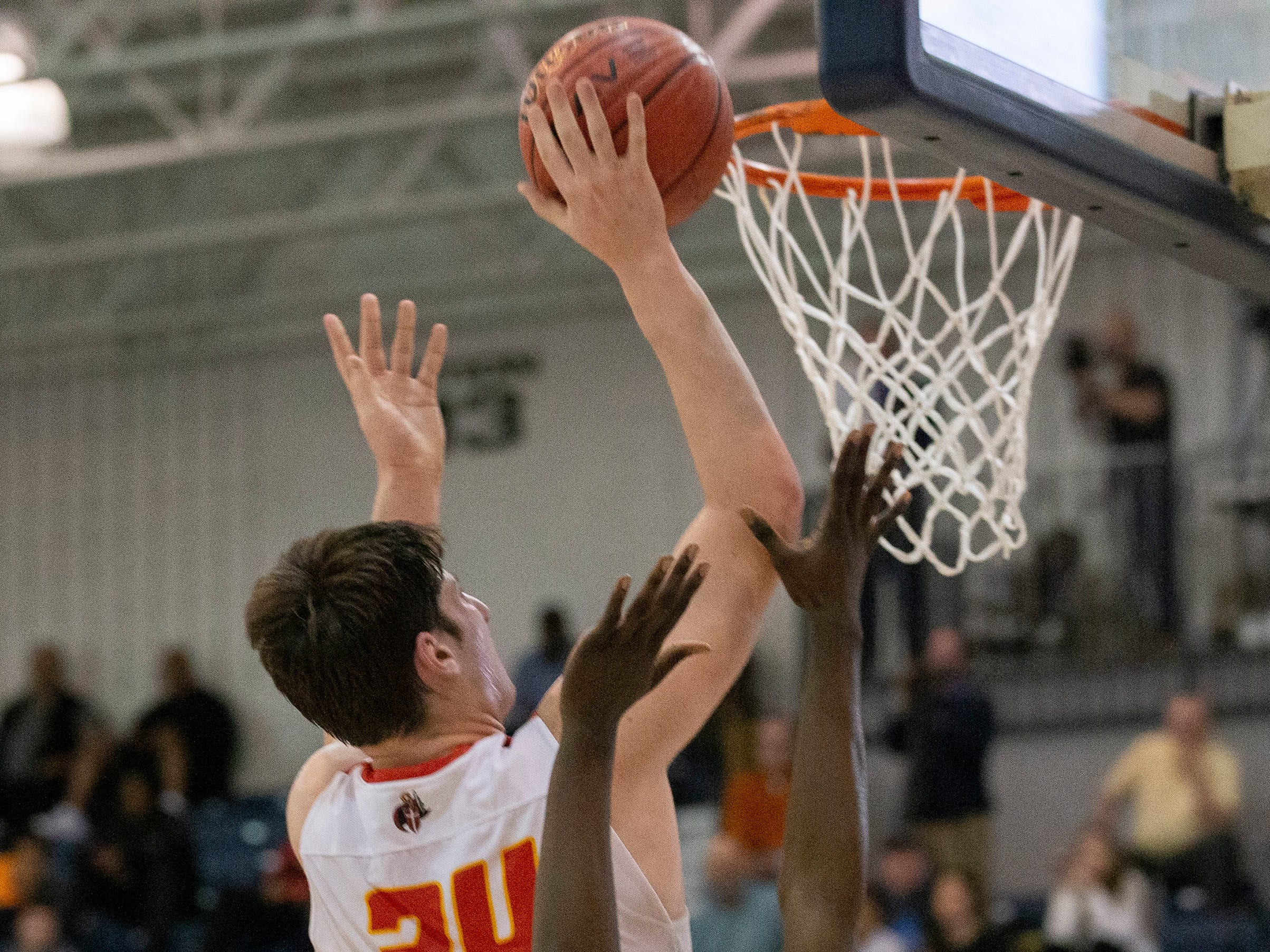 Matt Zona goes to the basket in first half action. Bergen Catholic vs. Newark East Side in the 5:30 p.m. semifinals of the 2019 NJSIAA Tournament of Champions in Toms River on March 15, 2019.