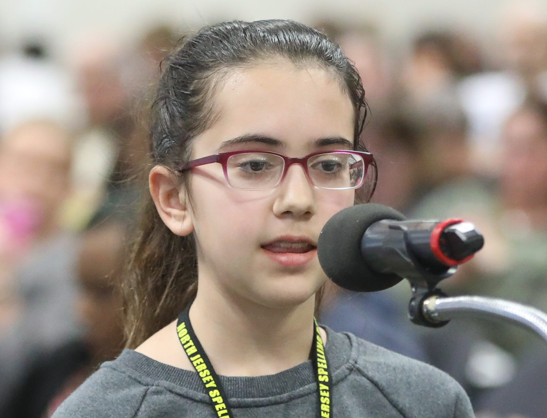 Naomi Zaider, of Paramus, competes in the first round of the 2019 North Jersey Spelling Bee, in Paramus. Thursday, March 14, 2019