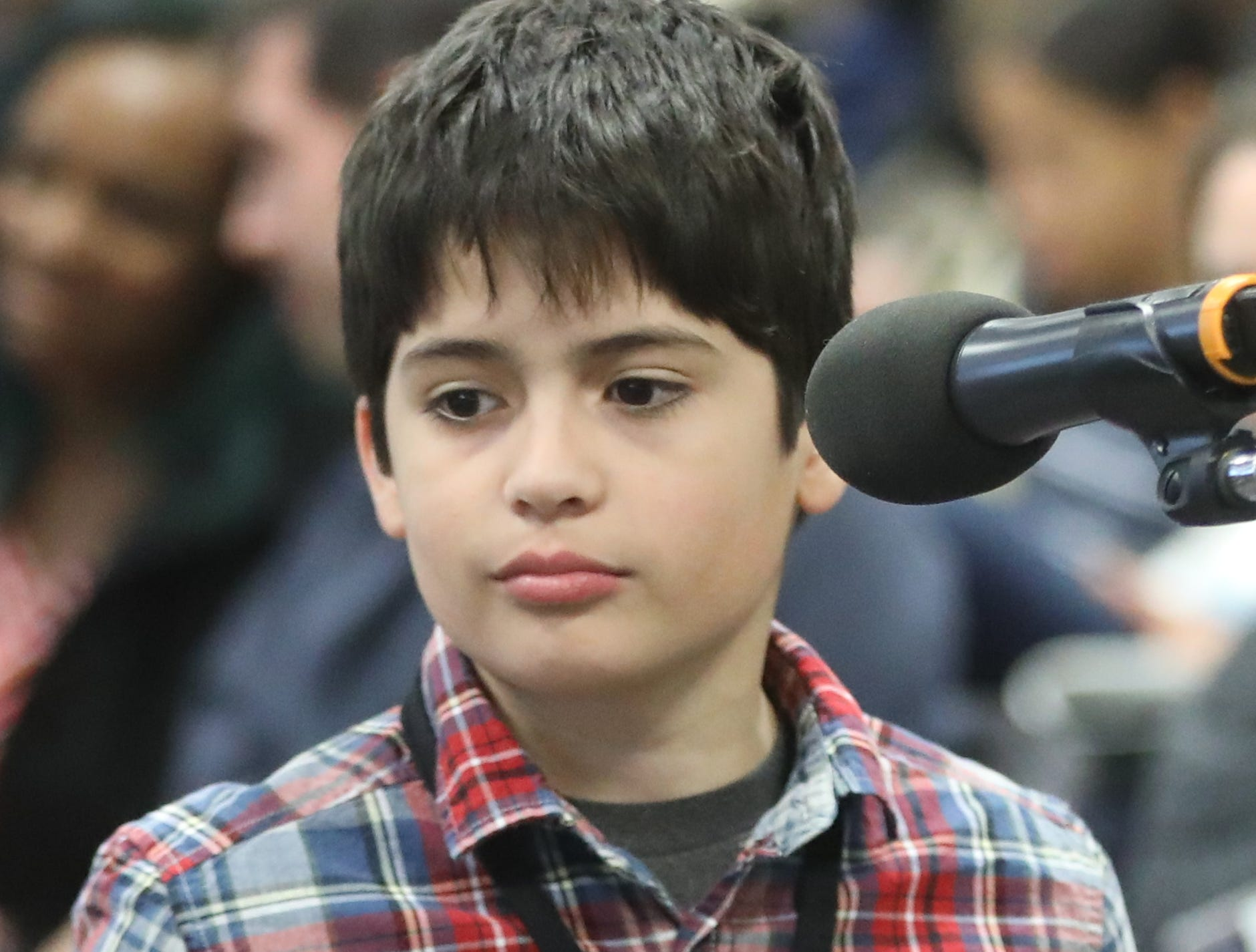 Wilson Velez, of Garfield, competes in the first round of the 2019 North Jersey Spelling Bee, in Paramus. Thursday, March 14, 2019