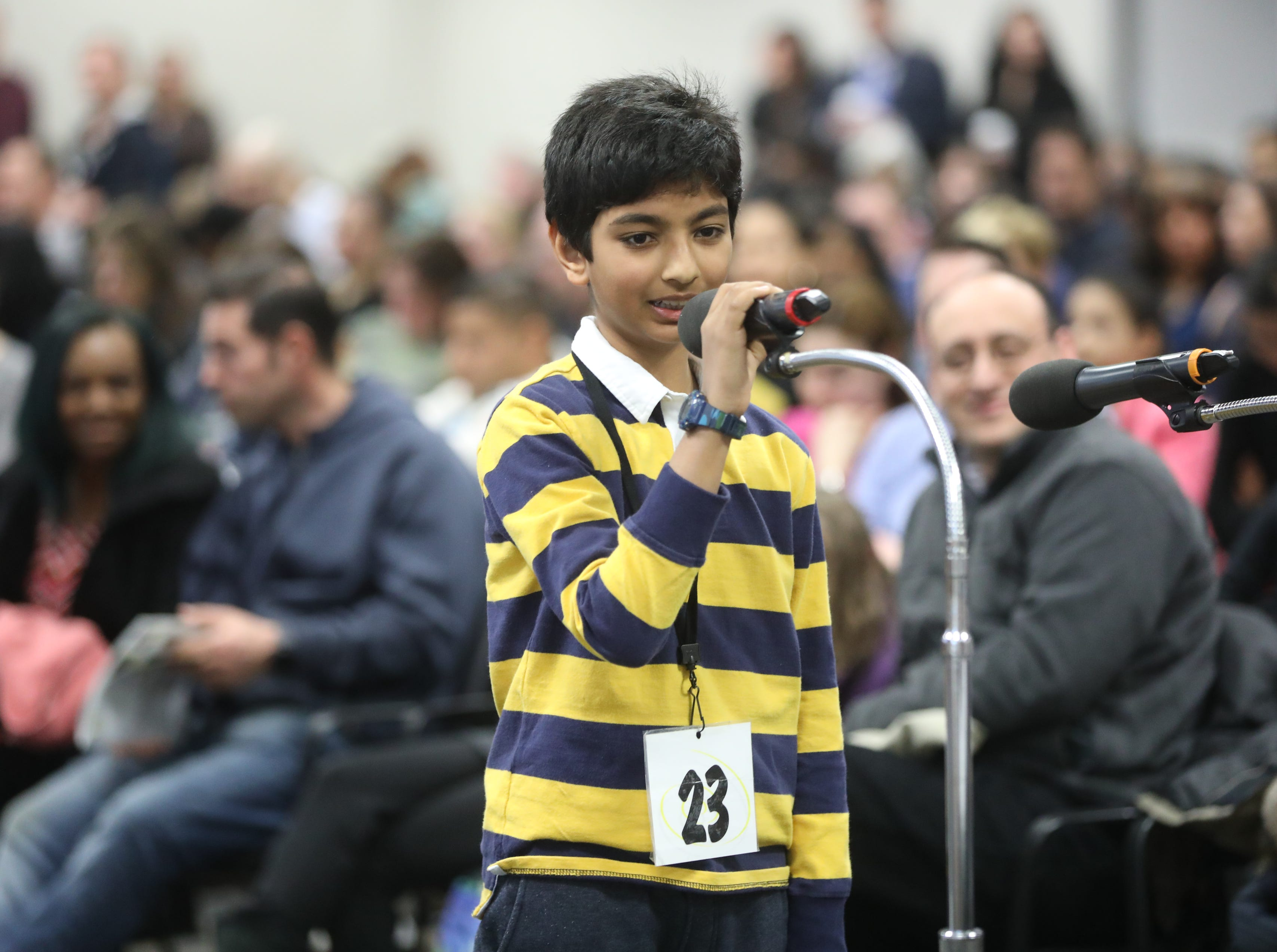 Aarush Goyal, of Edgewater, competes in the first round of the 2019 North Jersey Spelling Bee, in Paramus. Thursday, March 14, 2019