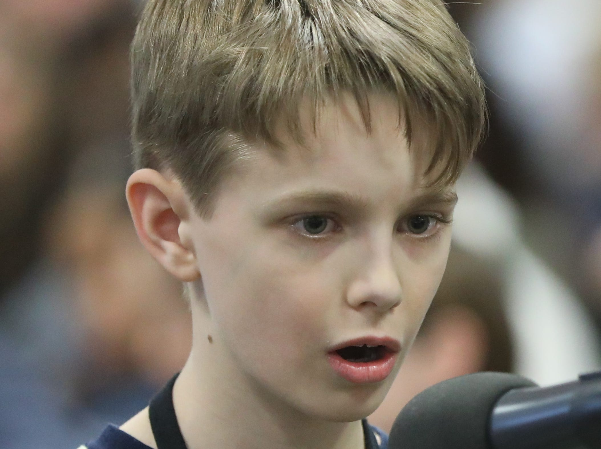 Thomas Isrenhagen, of Westwood, competes in the first round of the 2019 North Jersey Spelling Bee, in Paramus. Thursday, March 14, 2019