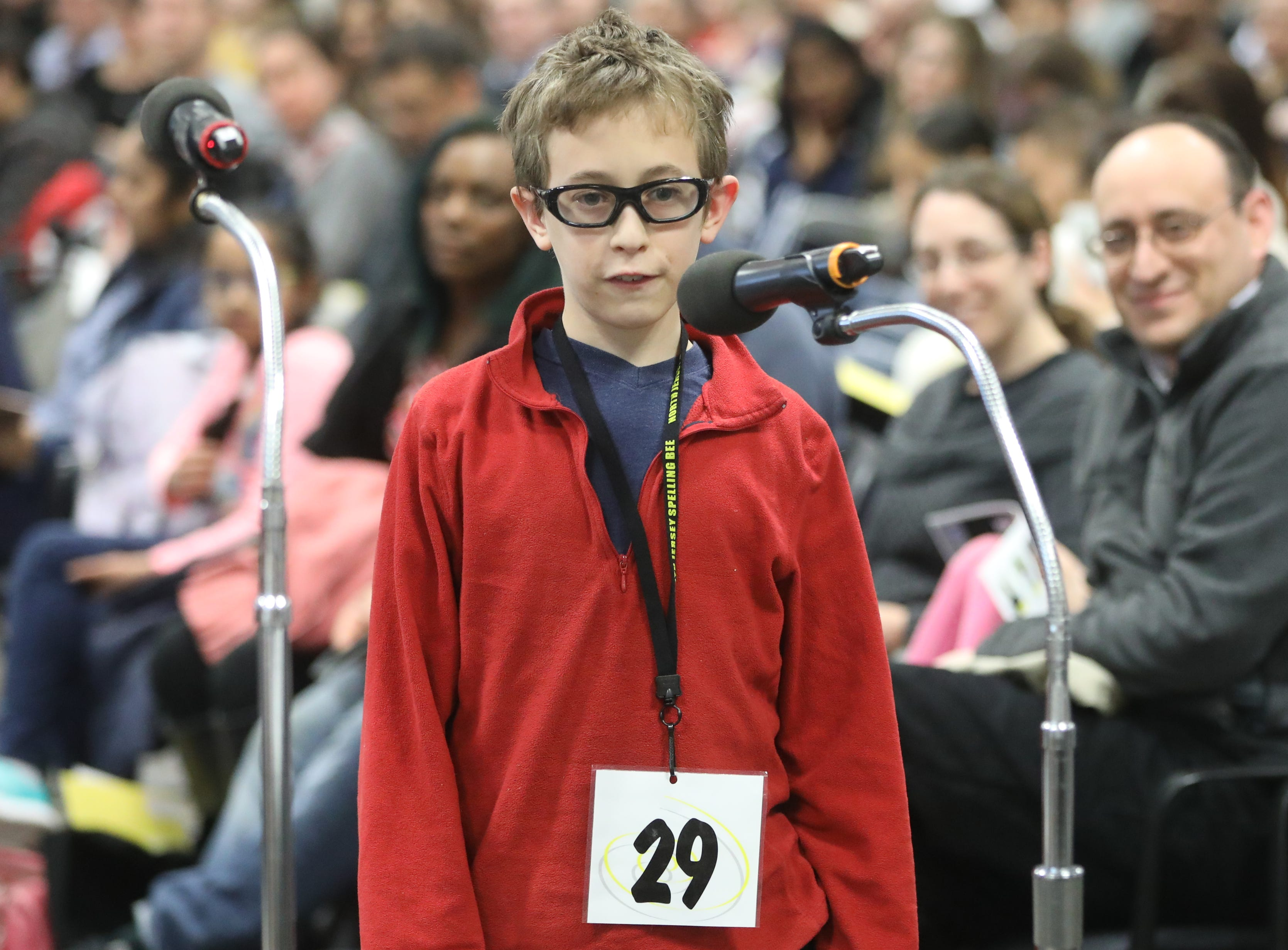 Yakir Schlosberg, of Oakland, competes in the first round of the 2019 North Jersey Spelling Bee, in Paramus. Thursday, March 14, 2019