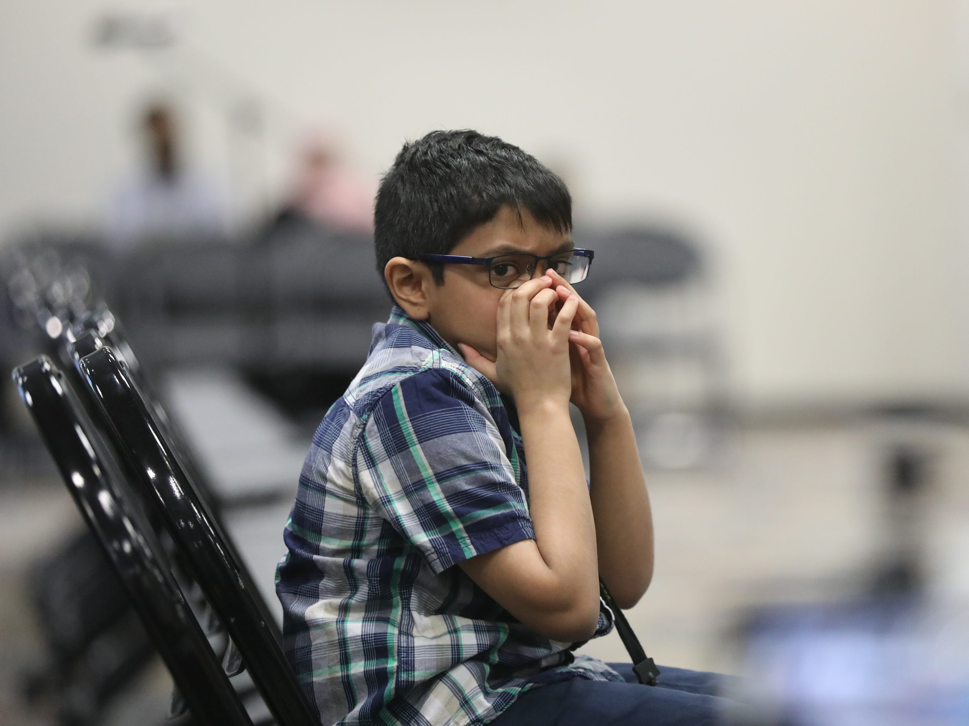 Runner-up, Srivarenya Vempati, looks to see how his competitor does, in Paramus. Thursday, March 14, 2019