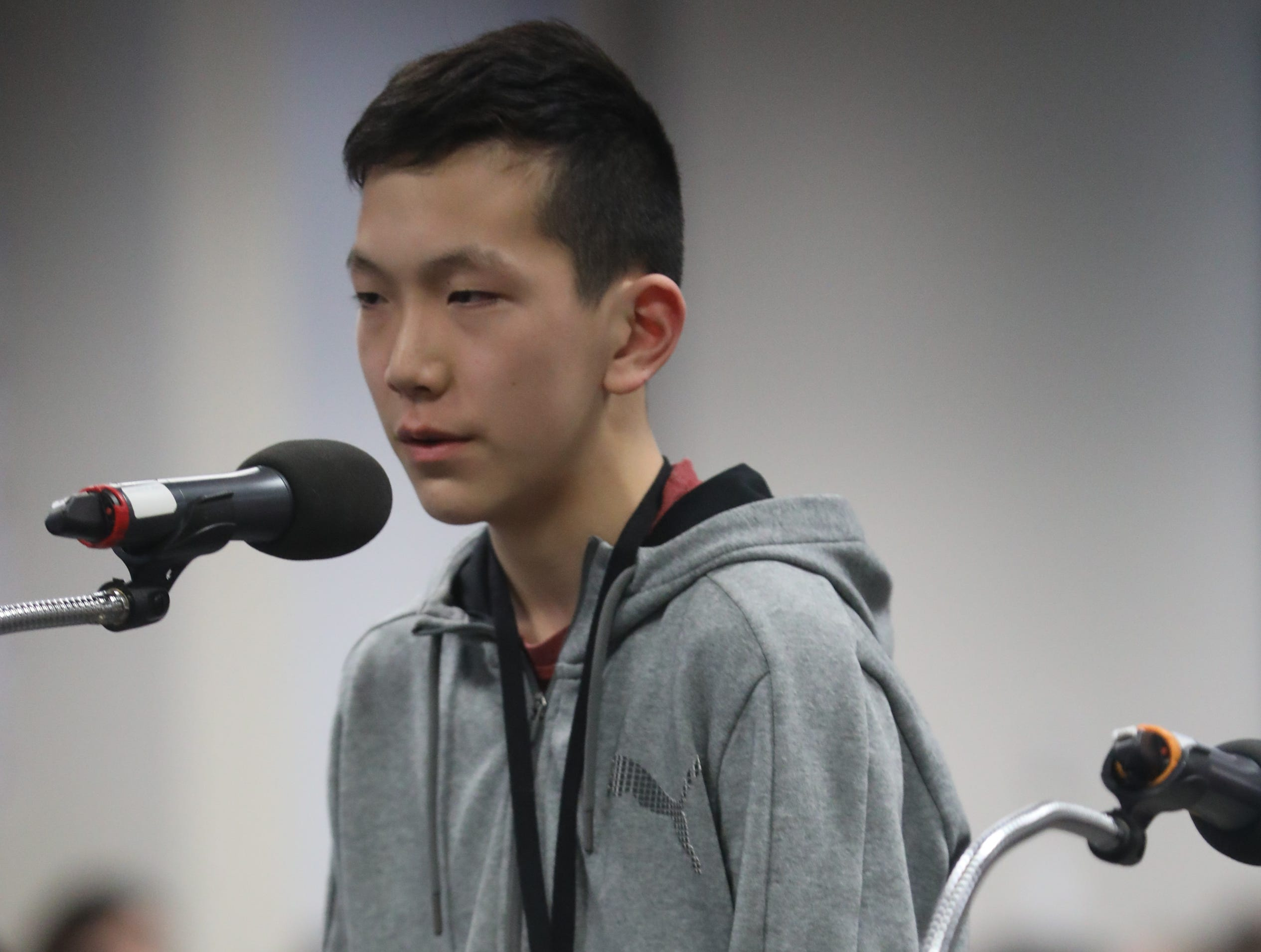 Matthew Chen, of Ridgewood, competes in the first round of the 2019 North Jersey Spelling Bee, in Paramus. Thursday, March 14, 2019