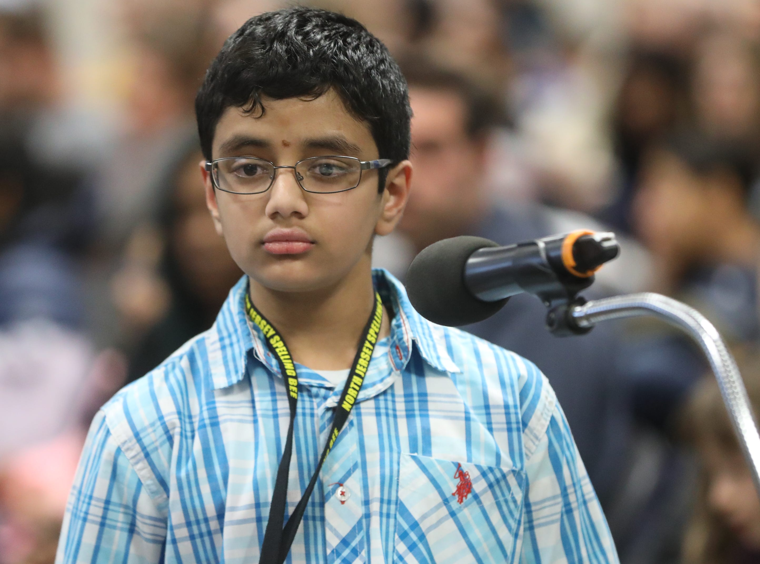 Srinidhaya Vempati, of New Milford, competes in the first round of the 2019 North Jersey Spelling Bee, in Paramus. Thursday, March 14, 2019