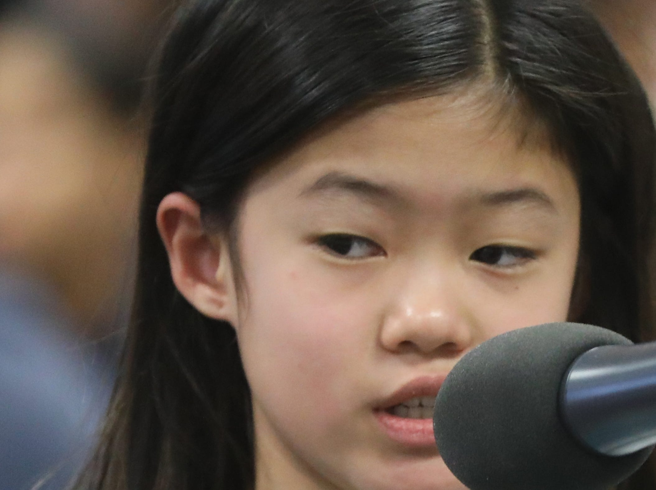 Rena Ryu, of Cresskill, competes in the first round of the 2019 North Jersey Spelling Bee, in Paramus. Thursday, March 14, 2019