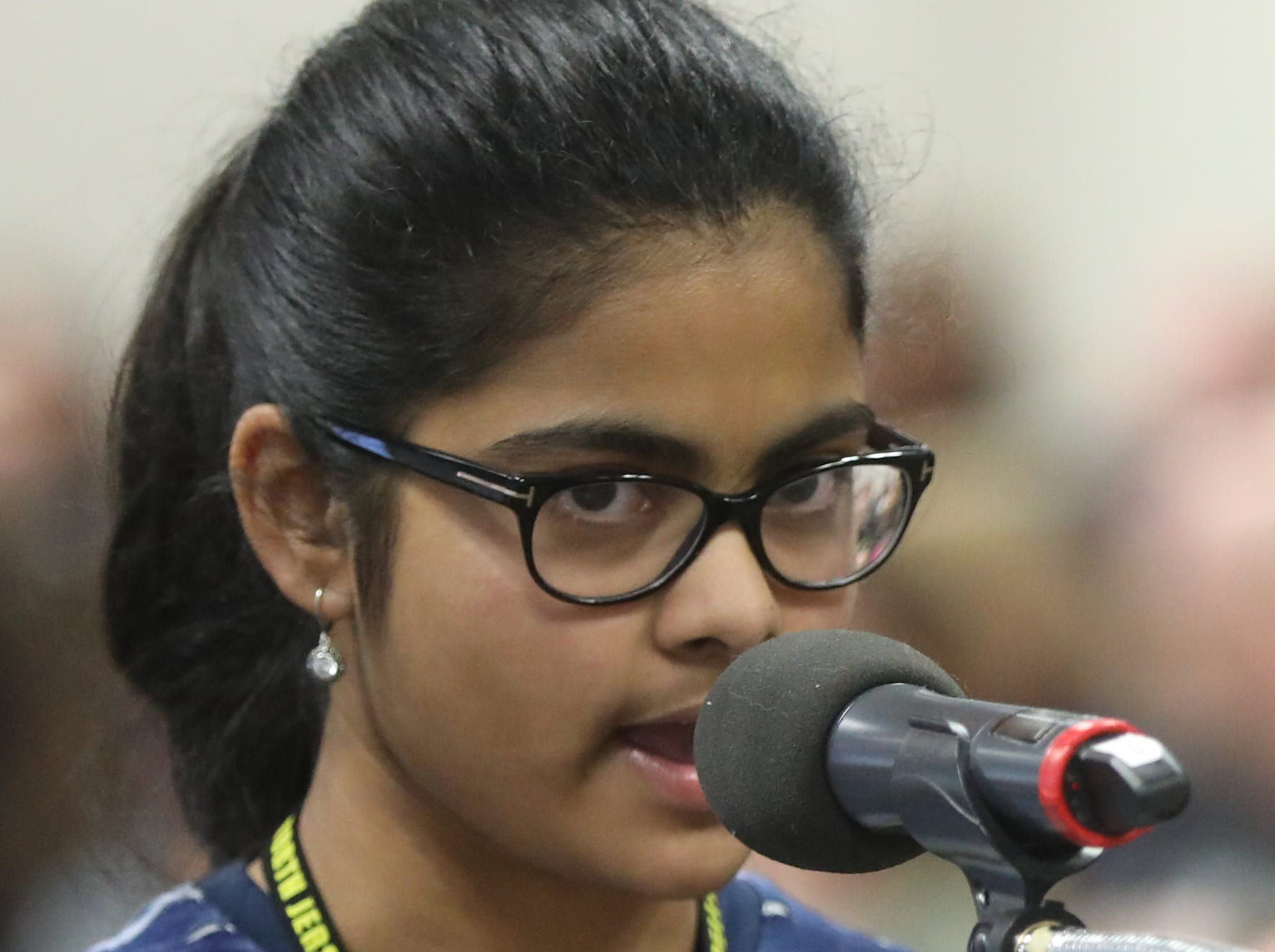 Satwika Kaivalya, of Rutherford, competes in the first round of the 2019 North Jersey Spelling Bee, in Paramus. Thursday, March 14, 2019