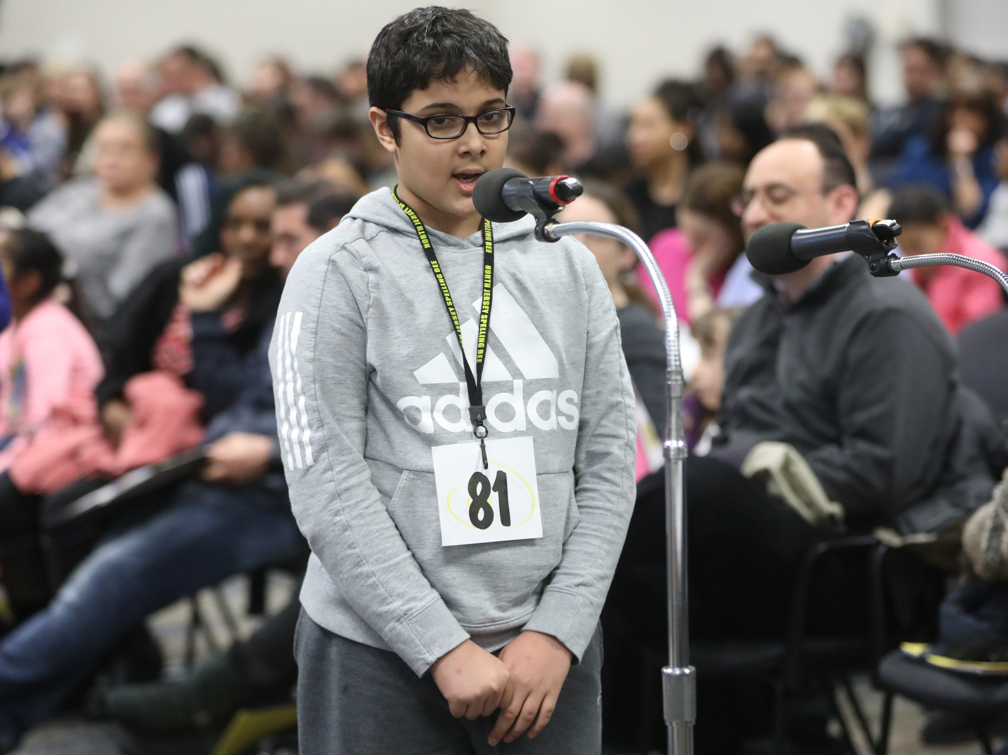 Aarush Santoshi, of Tenafly, competes in the first round of the 2019 North Jersey Spelling Bee, in Paramus. Thursday, March 14, 2019