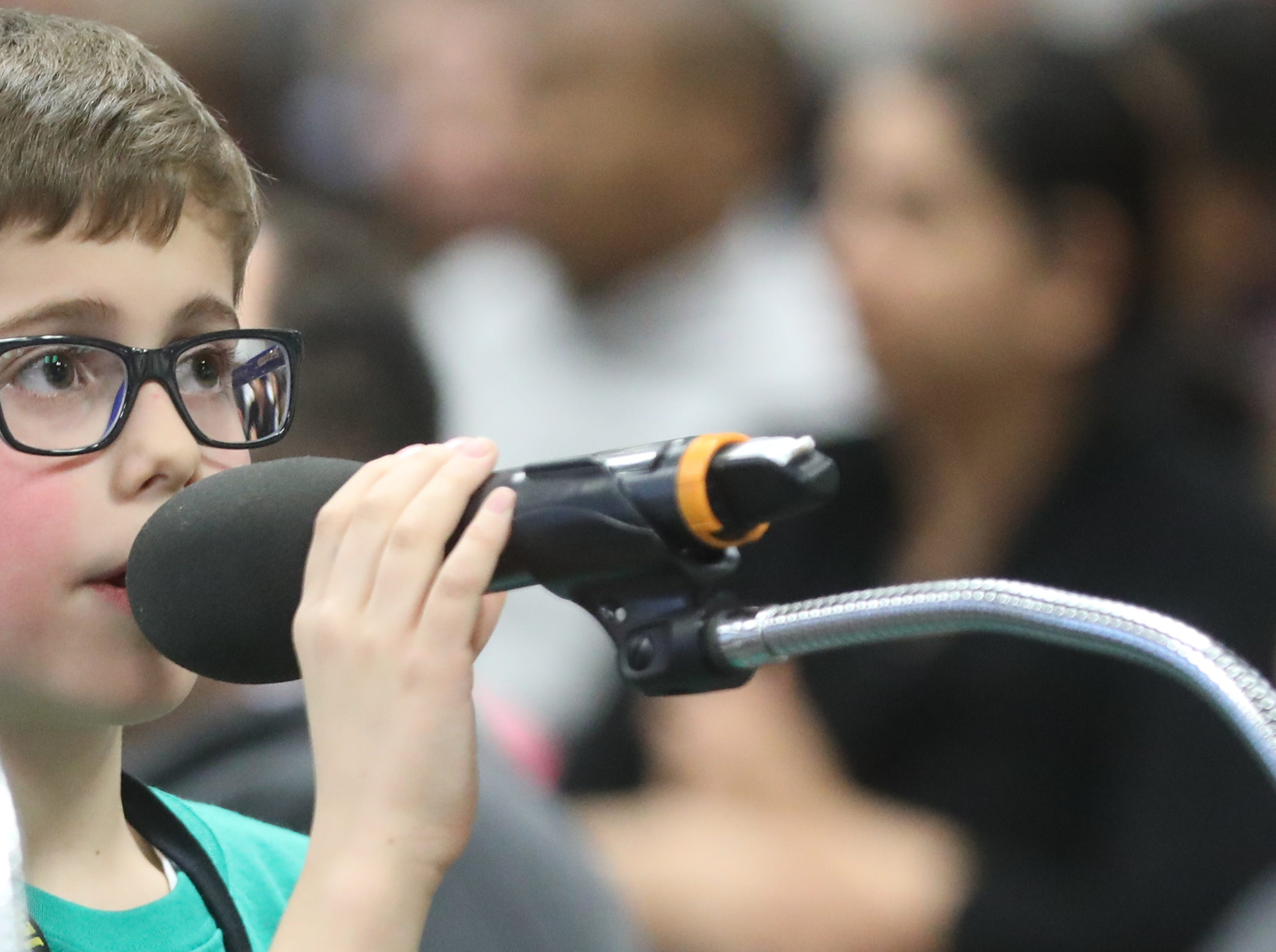 Alexi Pogrebinskiy, of Cliffside Park, competes in the first round of the 2019 North Jersey Spelling Bee, in Paramus. Thursday, March 14, 2019