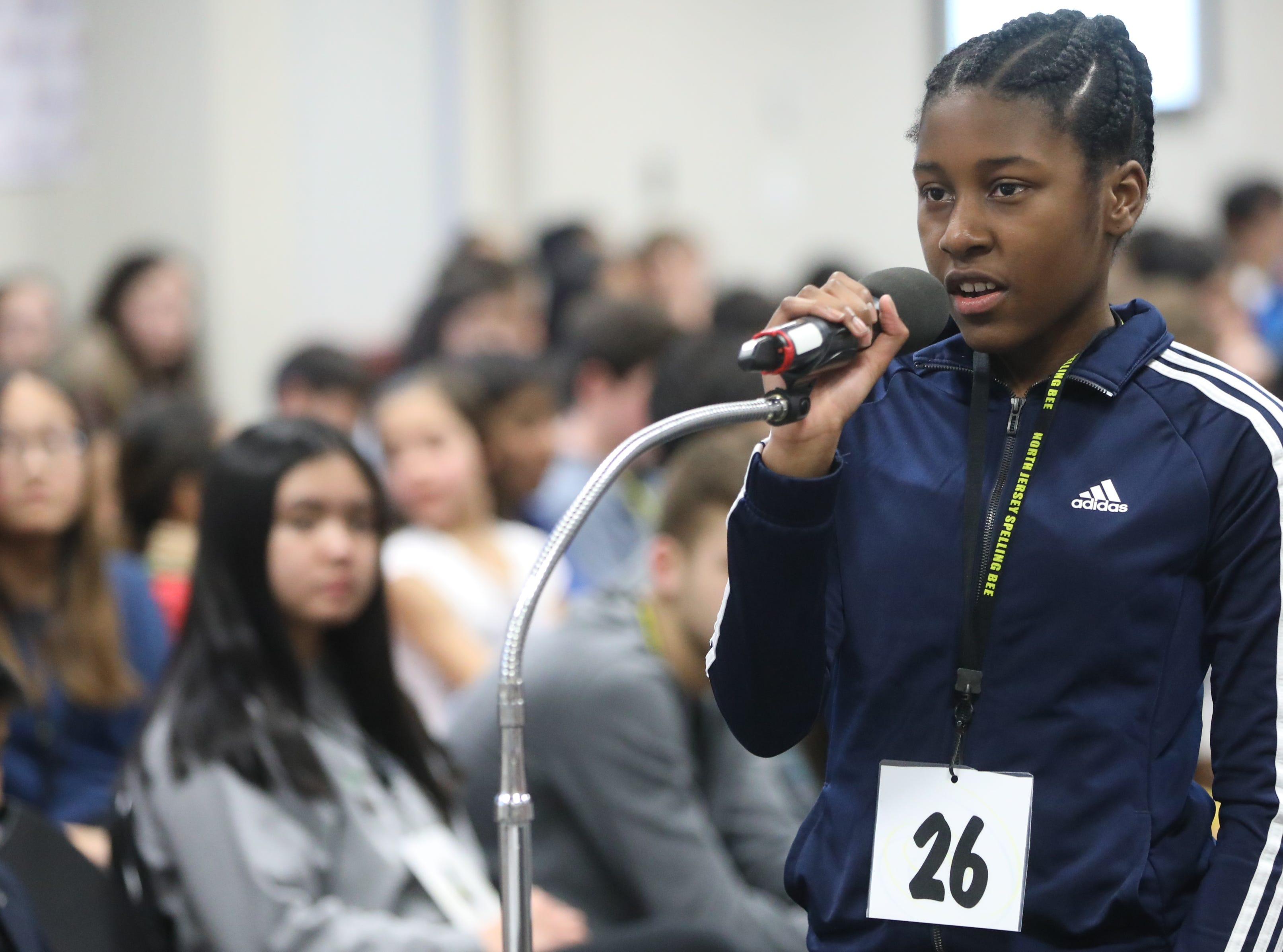 Kasey Allen, of Englewood, competes in the first round of the 2019 North Jersey Spelling Bee, in Paramus. Thursday, March 14, 2019