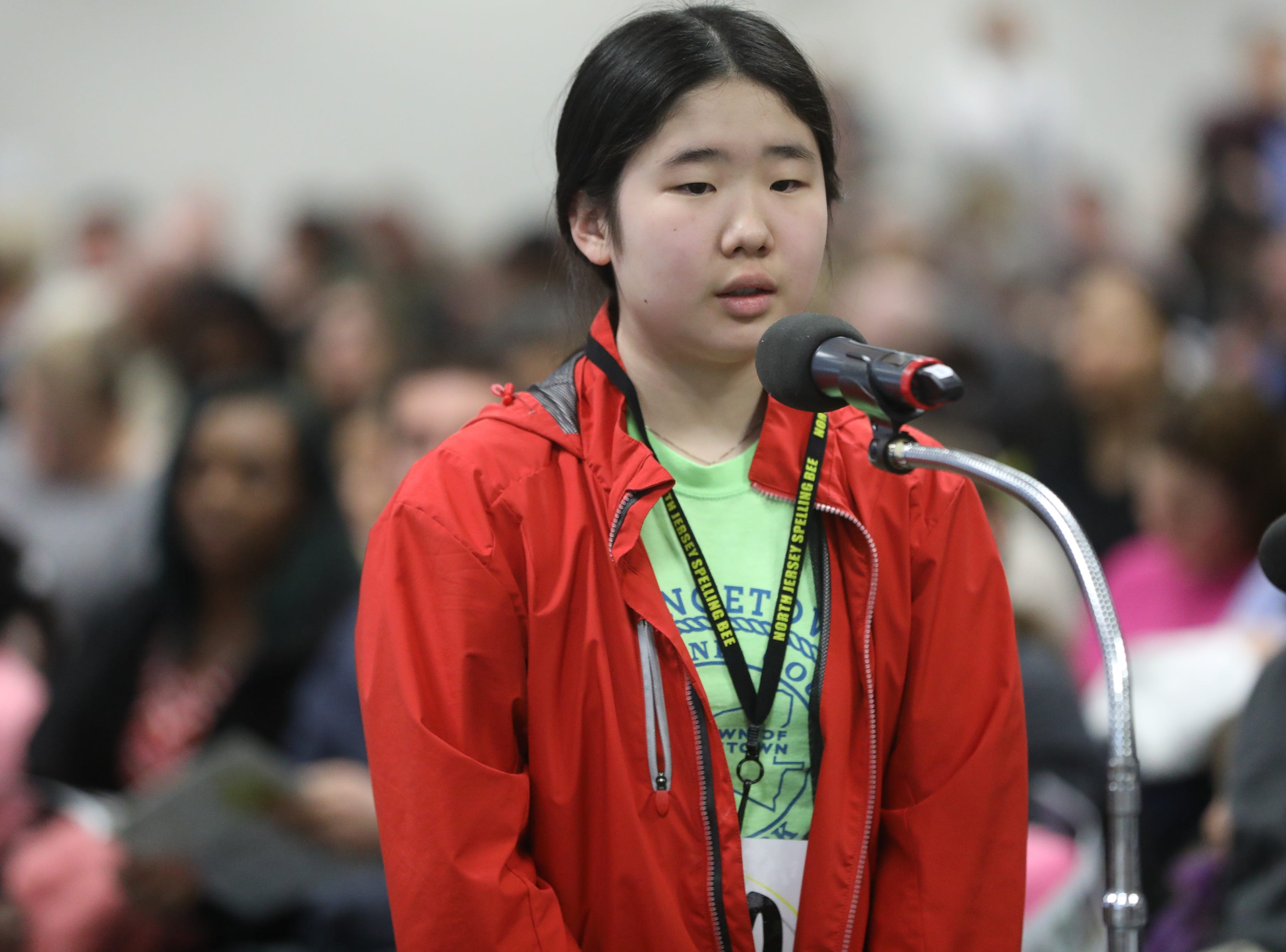 Courtney Kim, of Fort Lee, competes in the first round of the 2019 North Jersey Spelling Bee, in Paramus. Thursday, March 14, 2019