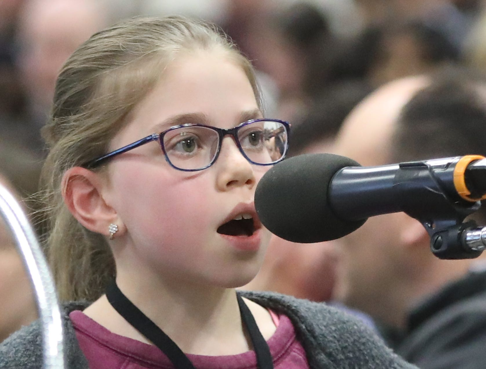 Anna Bergelson, of Cliffside Park, competes in the first round of the 2019 North Jersey Spelling Bee, in Paramus. Thursday, March 14, 2019
