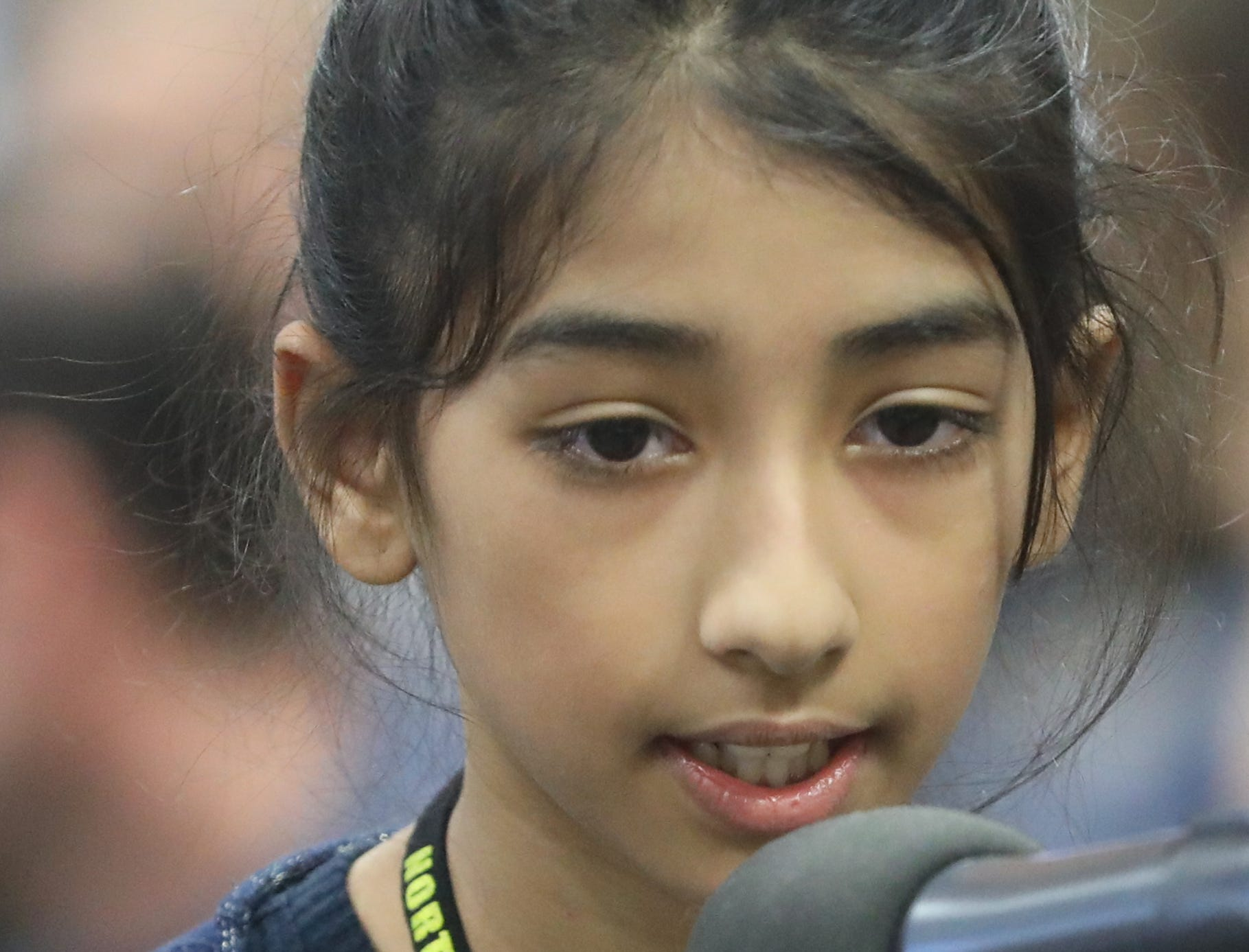 Suhani Pandya, of Englewood Cliffs, competes in the first round of the 2019 North Jersey Spelling Bee, in Paramus. Thursday, March 14, 2019