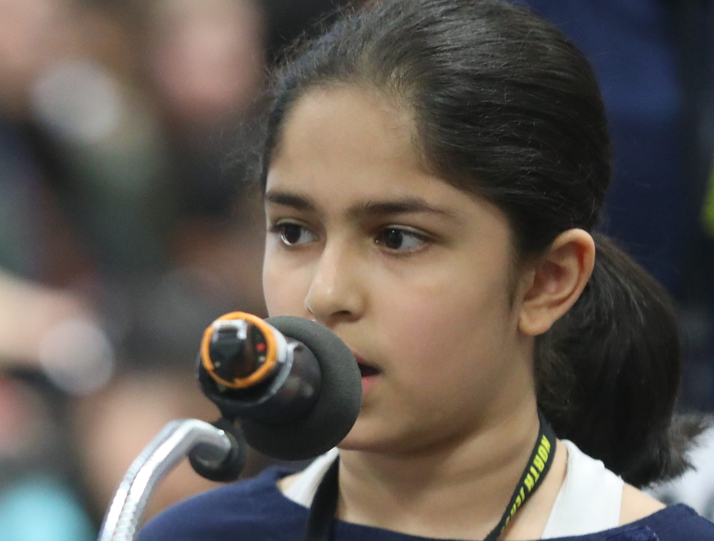 Sachi Kaisare, of Upper Saddle River, competes in the first round of the 2019 North Jersey Spelling Bee, in Paramus. Thursday, March 14, 2019