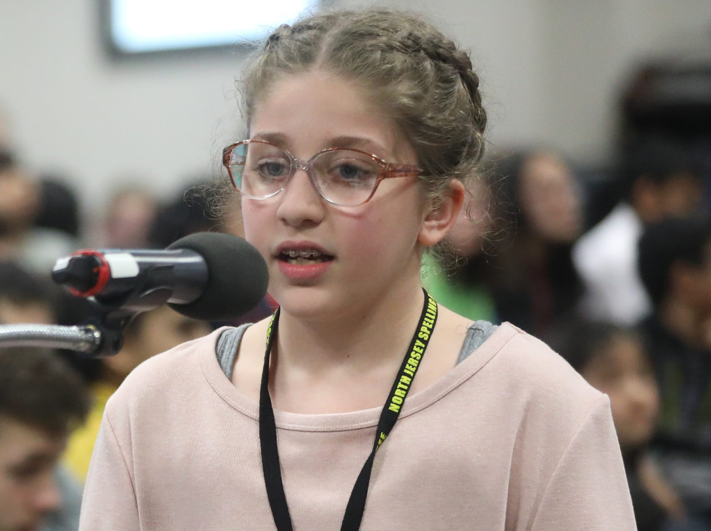 Jenan Hassan, of Cliffside Park, competes in the first round of the 2019 North Jersey Spelling Bee, in Paramus. Thursday, March 14, 2019