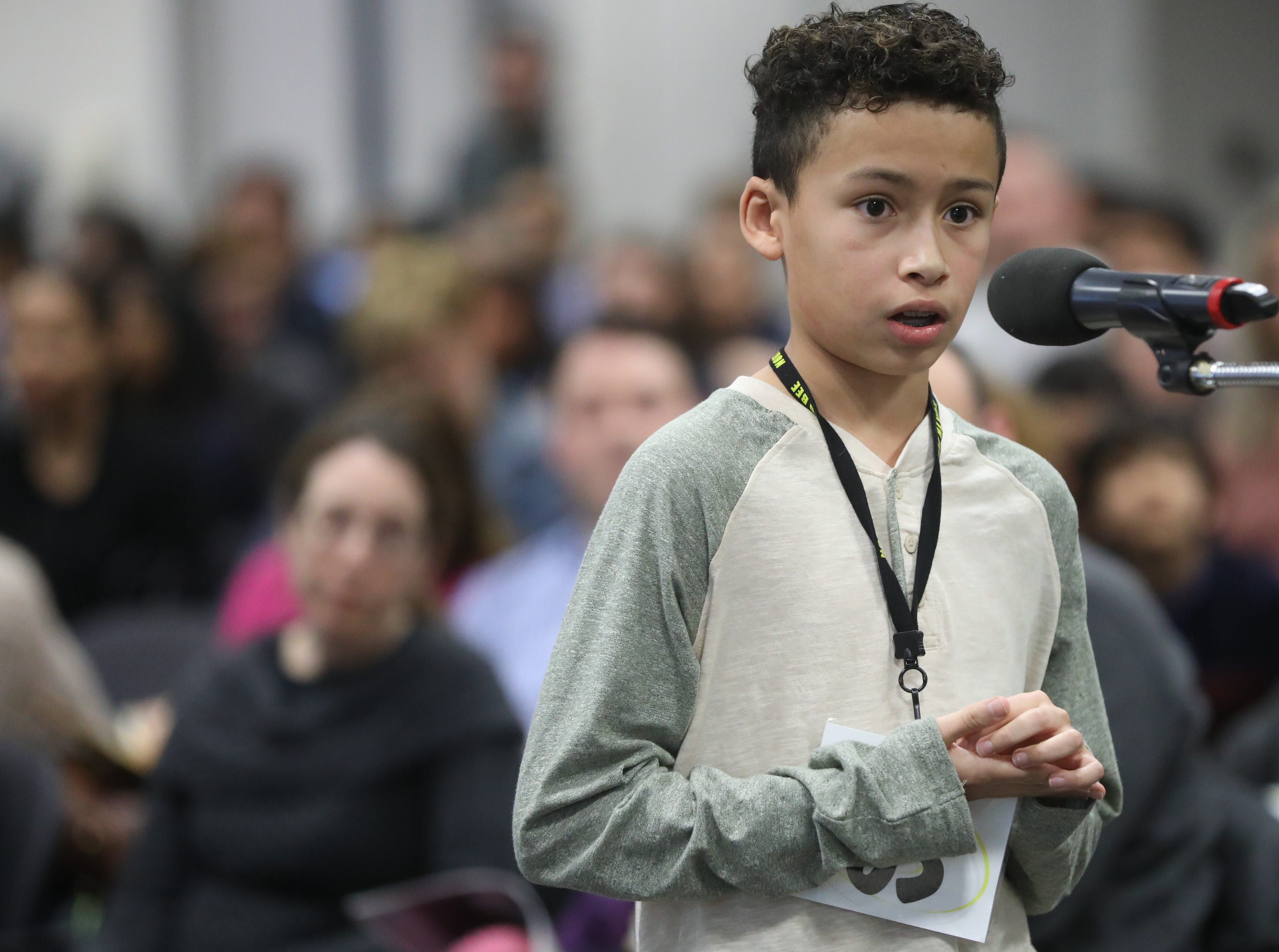 Jordan Cano-Alzate, of Moonachie, competes in the first round of the 2019 North Jersey Spelling Bee, in Paramus. Thursday, March 14, 2019