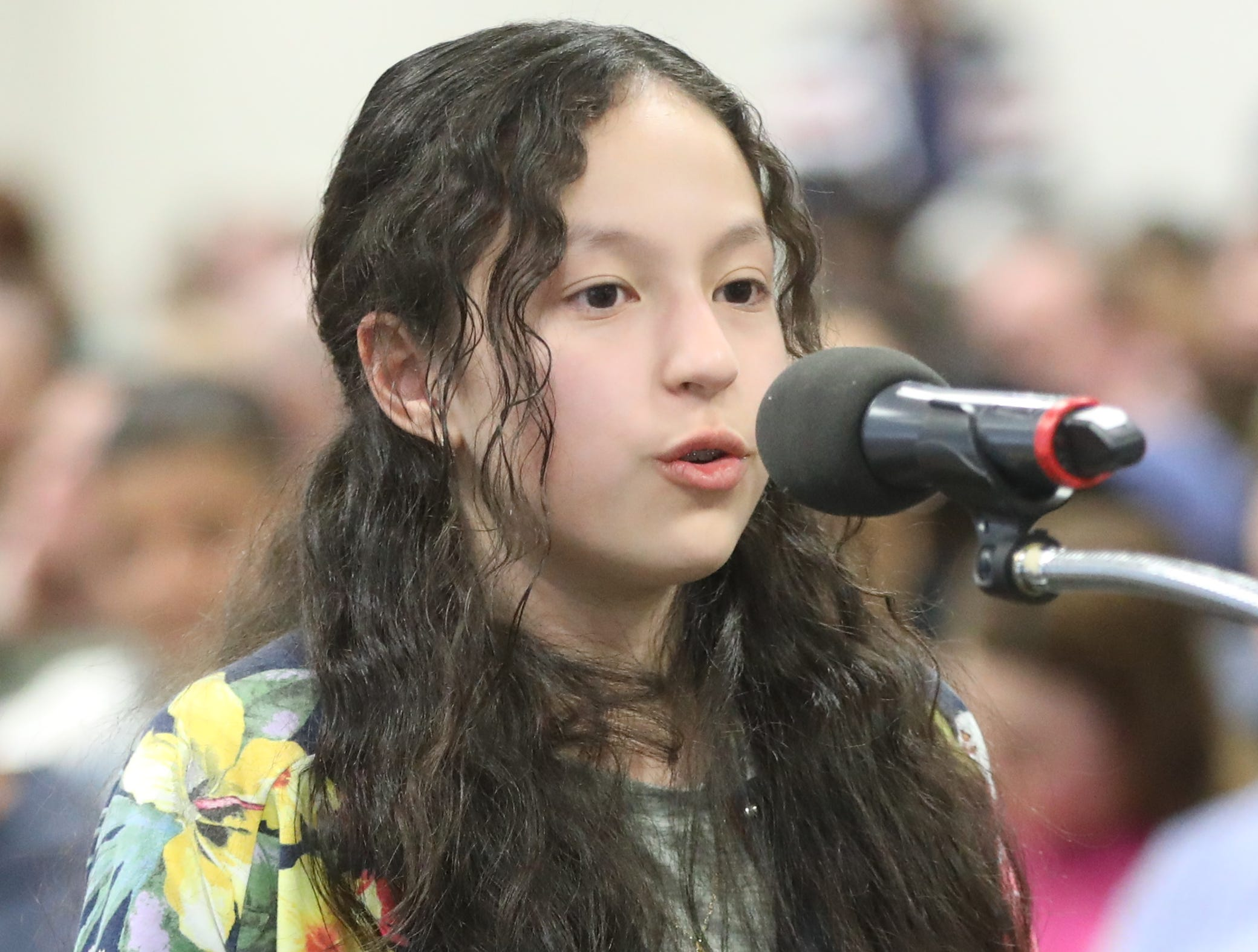 Zadie Castellanos, of Rutherford, competes in the first round of the 2019 North Jersey Spelling Bee, in Paramus. Thursday, March 14, 2019