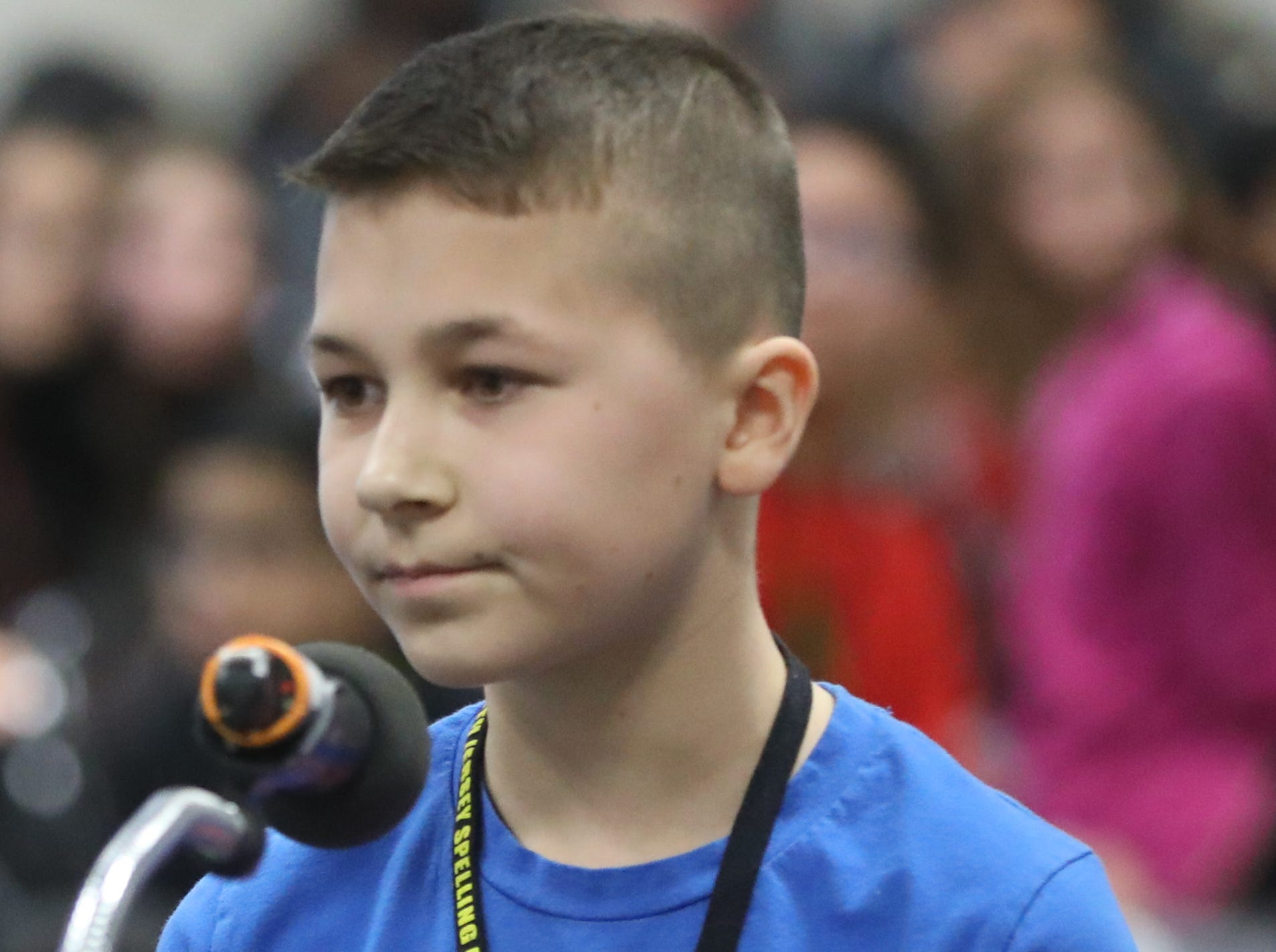 Eric Moroz, of Wallington, competes in the first round of the 2019 North Jersey Spelling Bee, in Paramus. Thursday, March 14, 2019