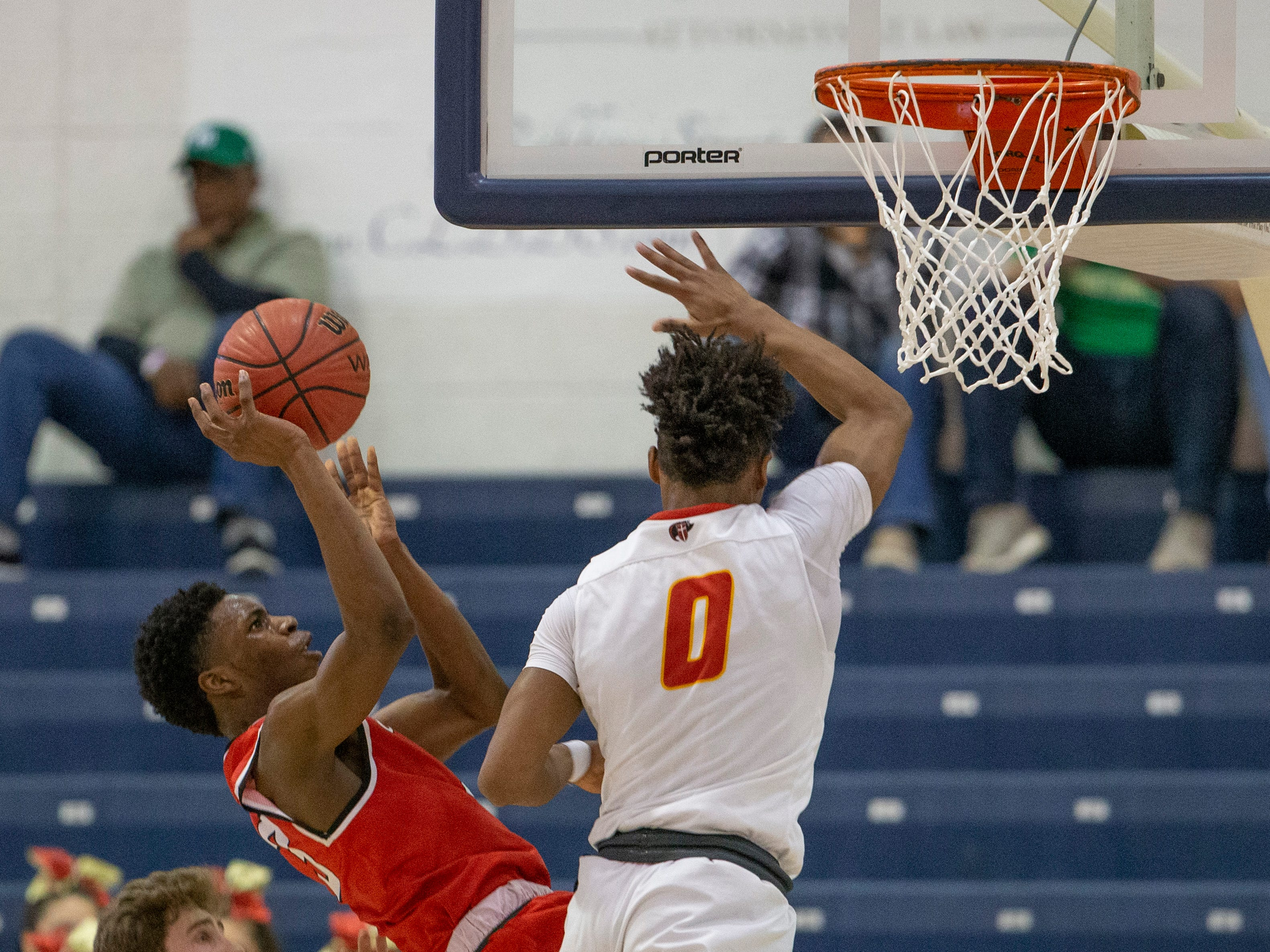 East Side's Nasir Johnson falls backwards as he shoots in first half action. Bergen Catholic vs. Newark East Side in the 5:30 p.m. semifinals of the 2019 NJSIAA Tournament of Champions in Toms River on March 15, 2019.