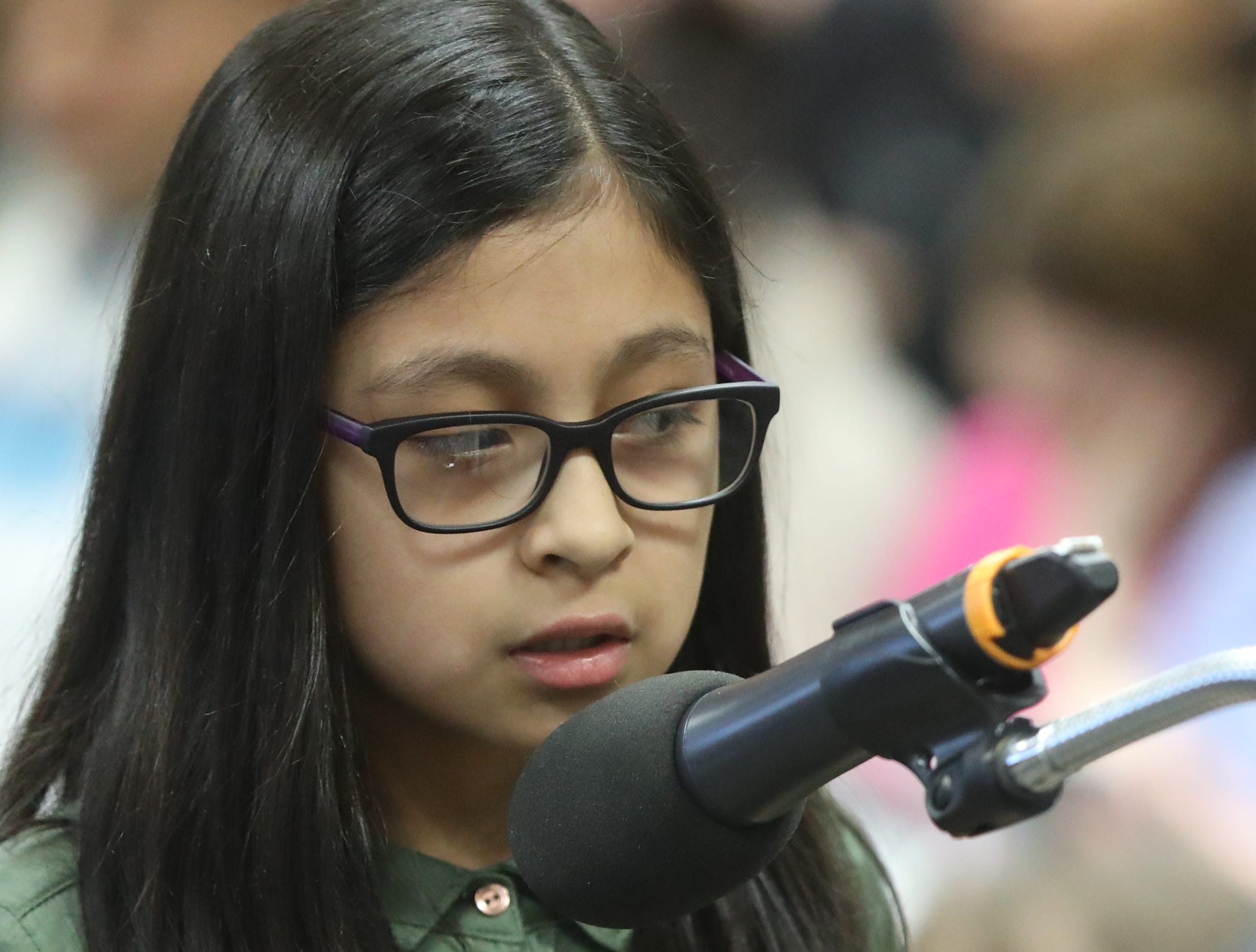 Alexa Gomez, of Paterson, competes in the first round of the 2019 North Jersey Spelling Bee, in Paramus. Thursday, March 14, 2019