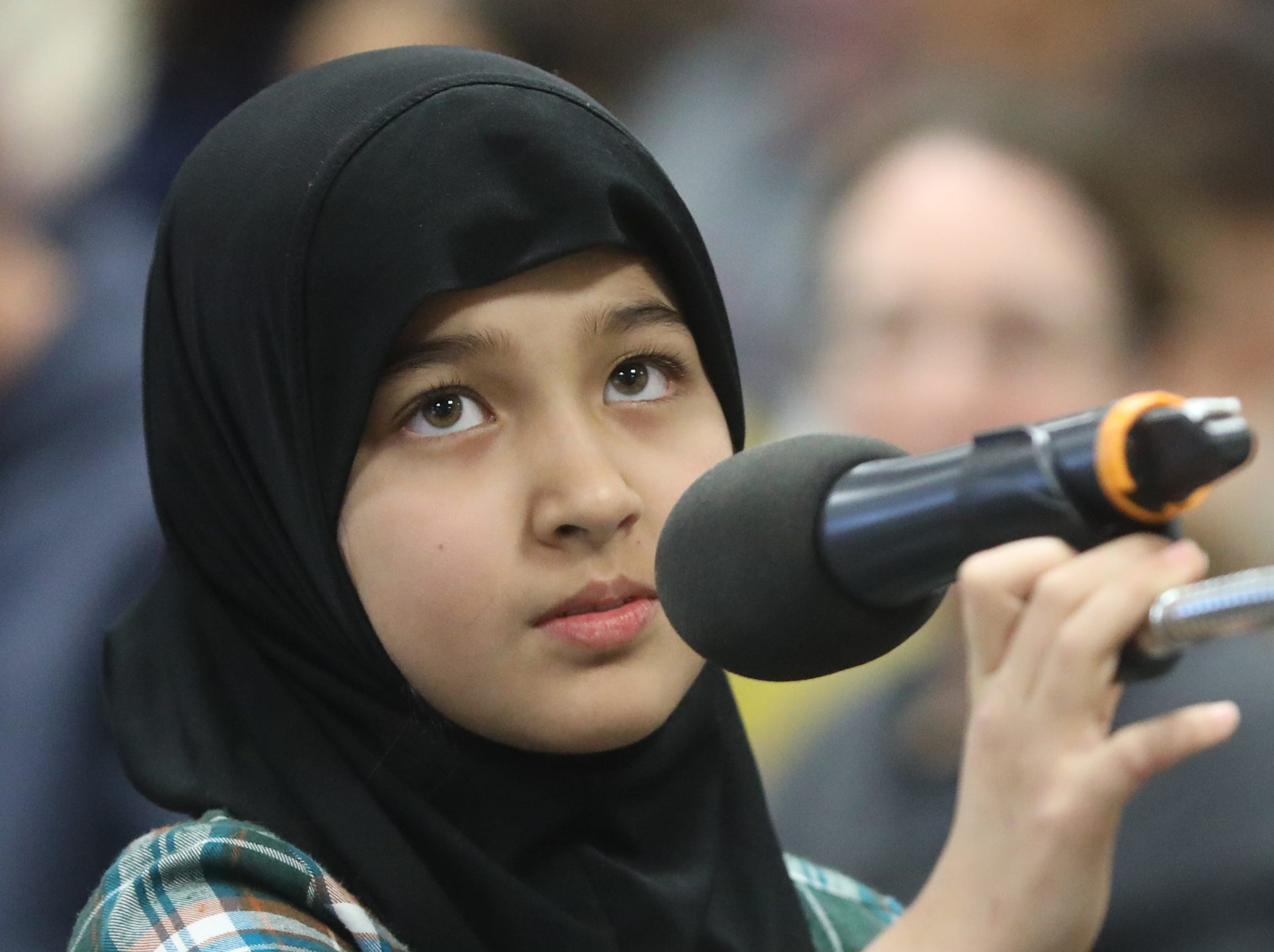 AishaShafoat, of Paramus, competes in the first round of the 2019 North Jersey Spelling Bee, in Paramus. Thursday, March 14, 2019
