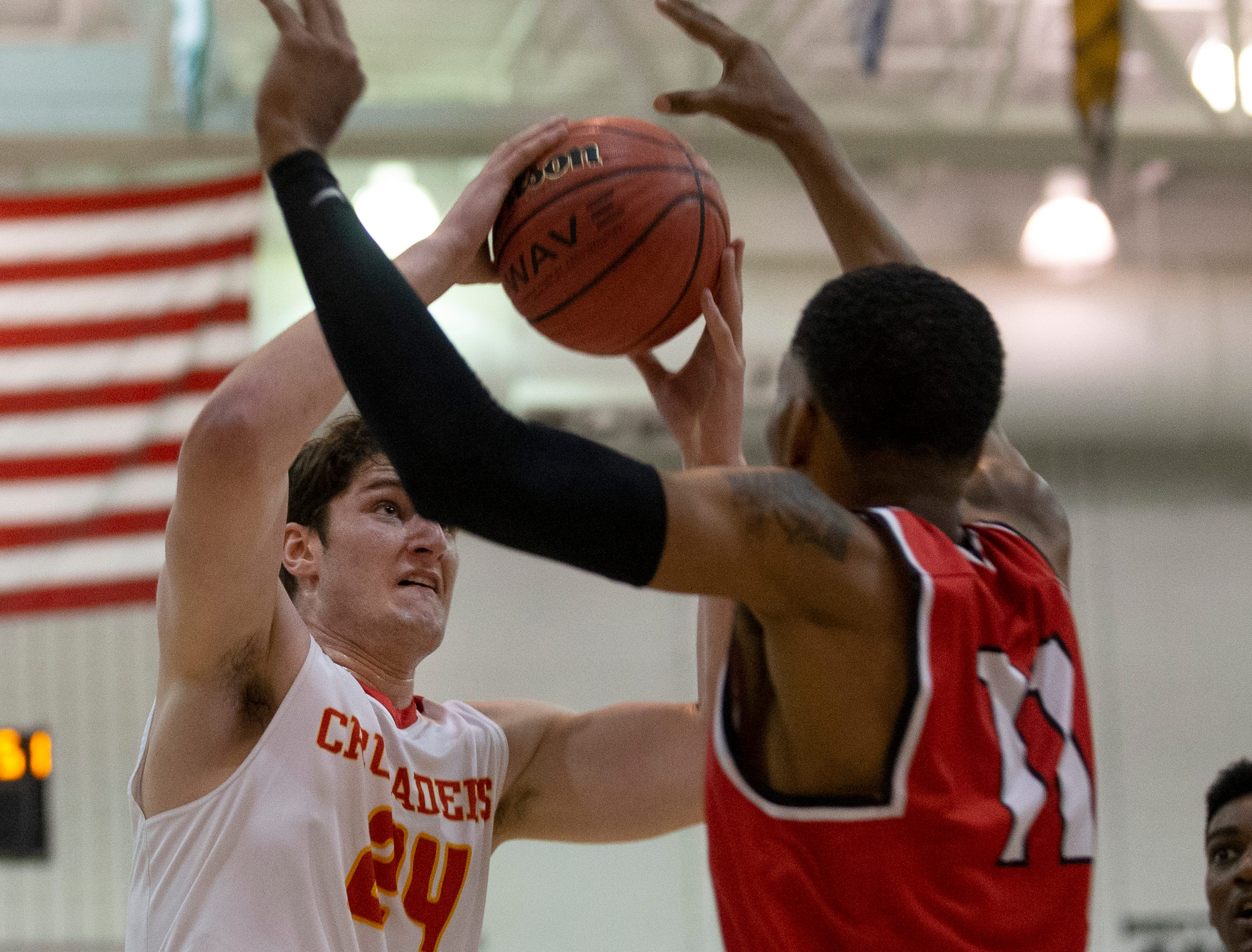 Matt Zona, Bergen Catholic looks for an opening. Bergen Catholic vs. Newark East Side in the 5:30 p.m. semifinals of the 2019 NJSIAA Tournament of Champions in Toms River on March 15, 2019.