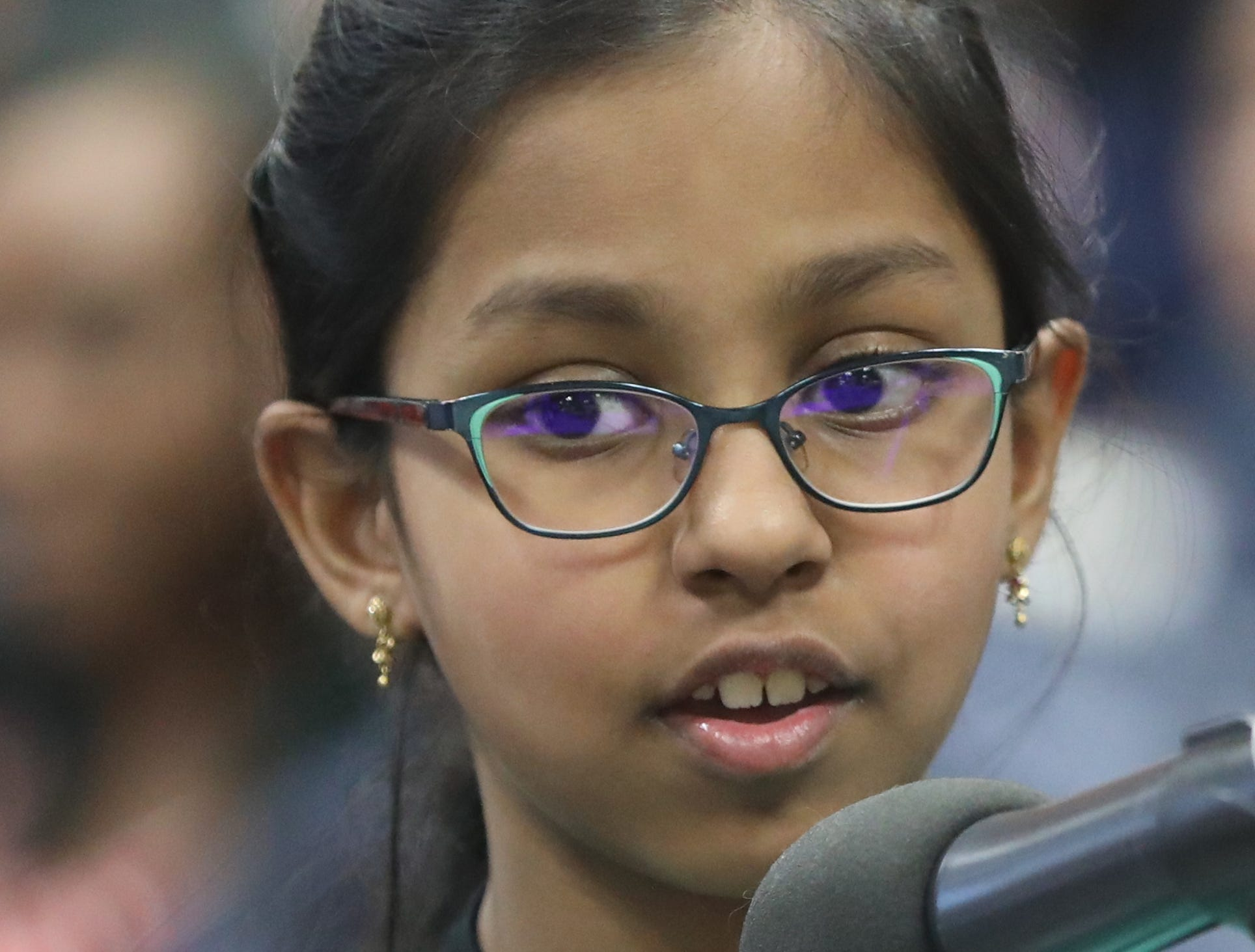 Aasiba Sherin Mohamed Dhakir Hussain, of Hackensack, competes in the first round of the 2019 North Jersey Spelling Bee, in Paramus. Thursday, March 14, 2019