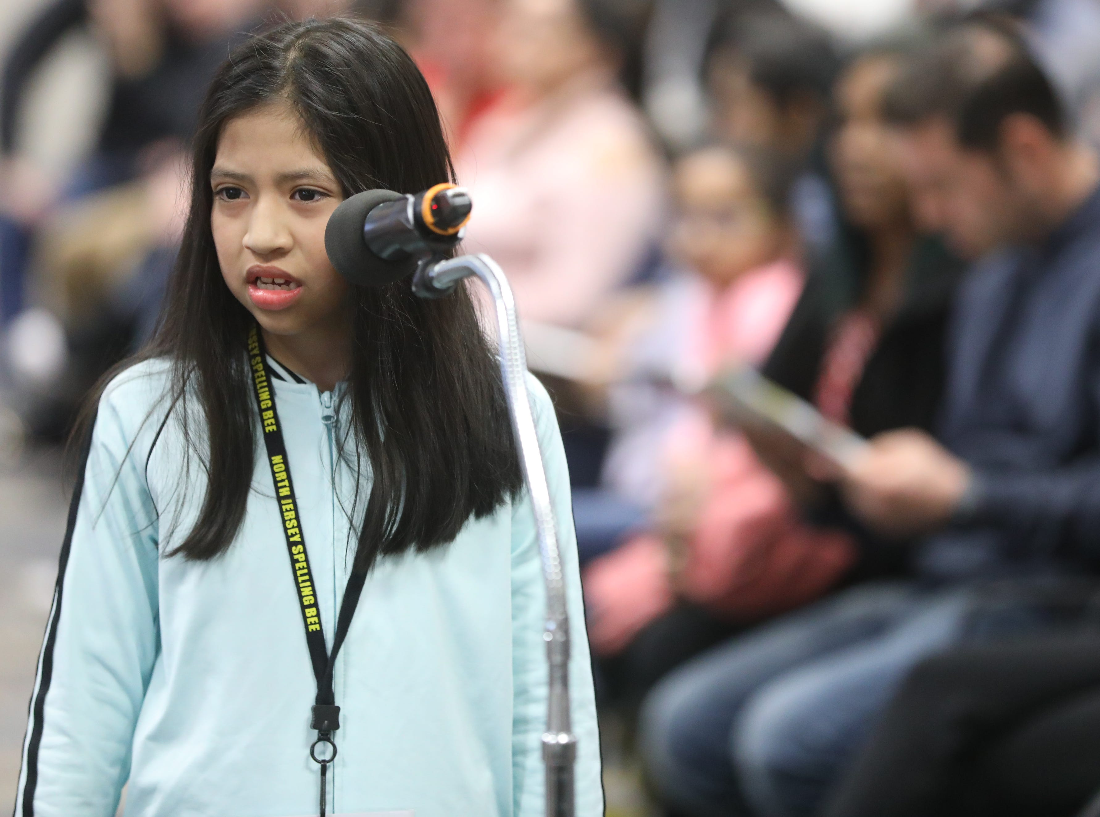 Yaiza Zamora, of Paterson, competes in the first round of the 2019 North Jersey Spelling Bee, in Paramus. Thursday, March 14, 2019